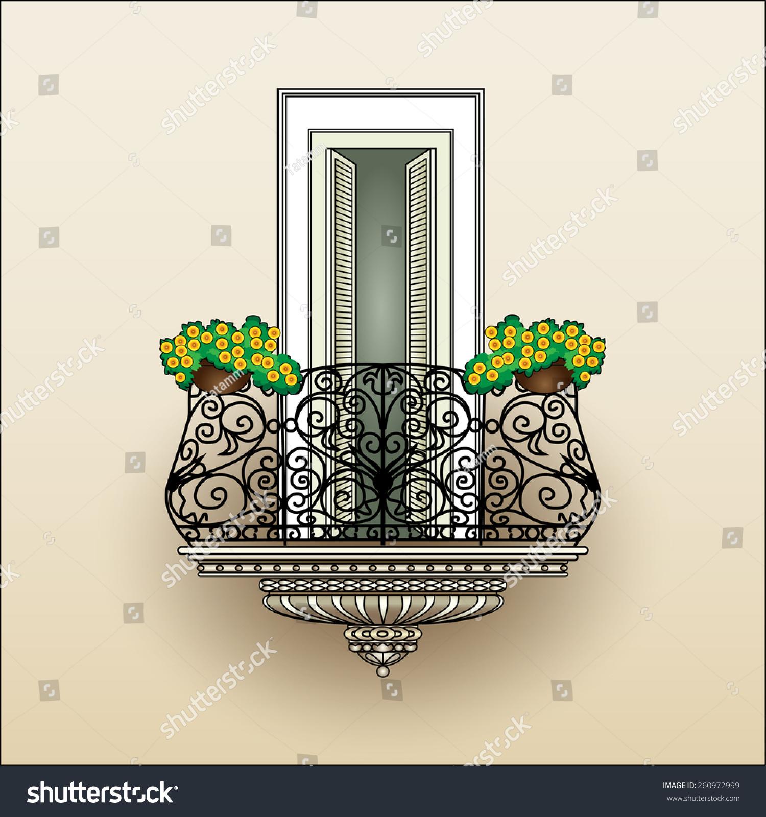 Balcony wrought iron railing classic style stock vector for Balcony vector