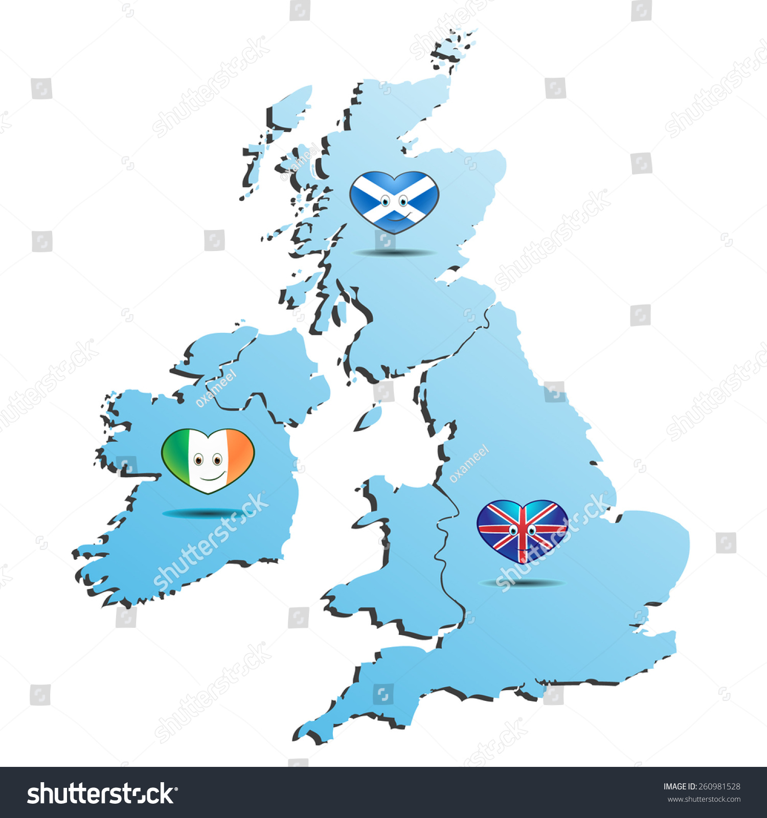 Blue Map England Ireland Scotland Flag Stock Vector Royalty Free