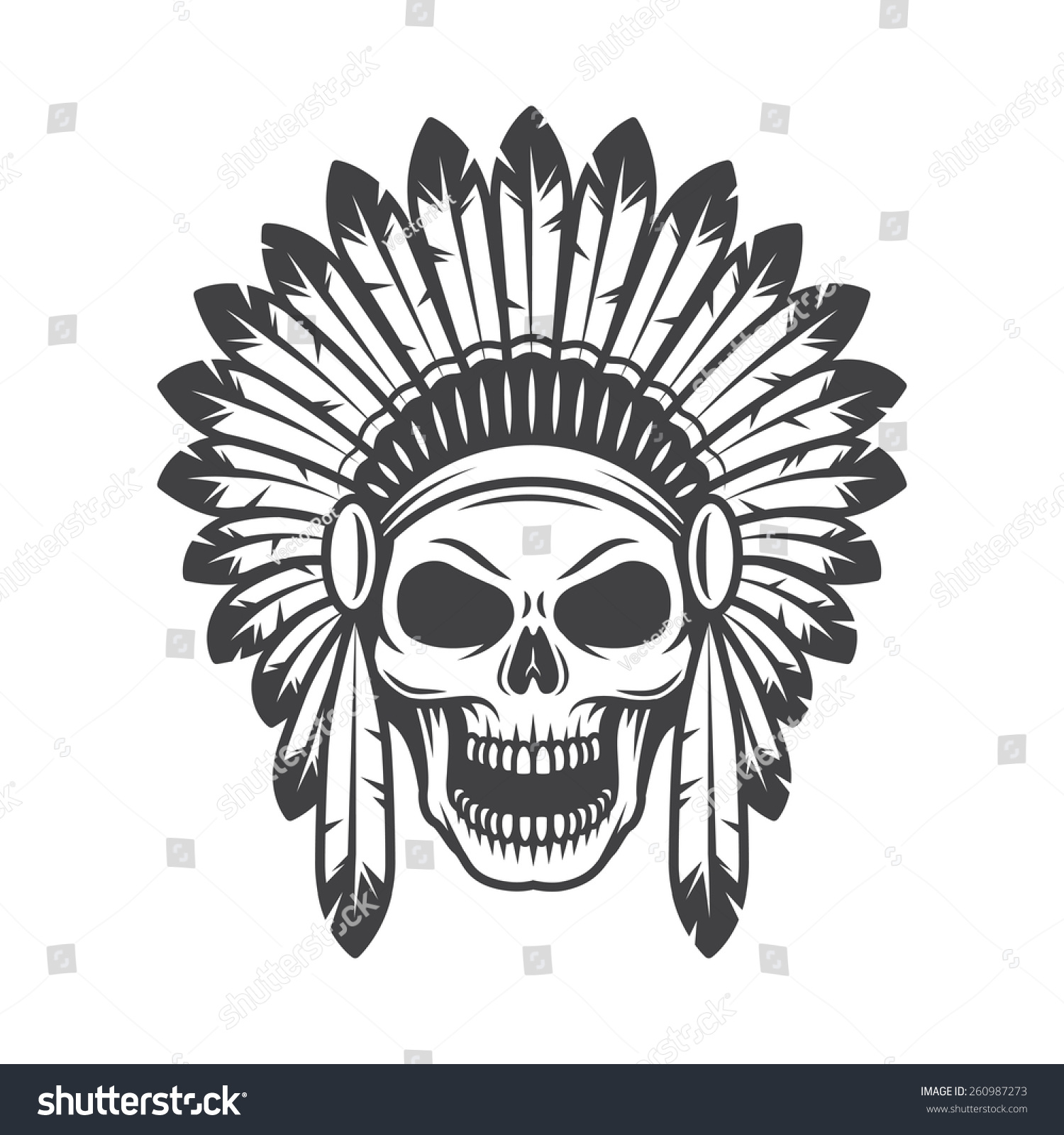 Galerry illustration with native american indian chief headdress