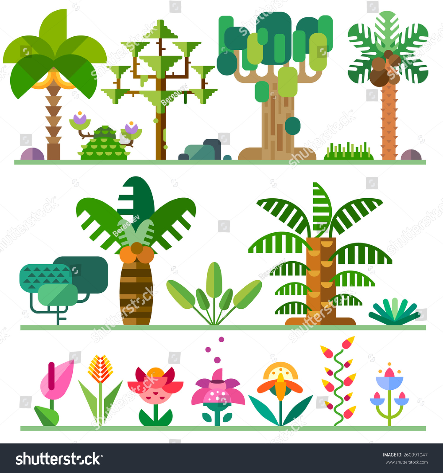 Tropical plants different types trees flowers stock vector for Different types of plants and trees