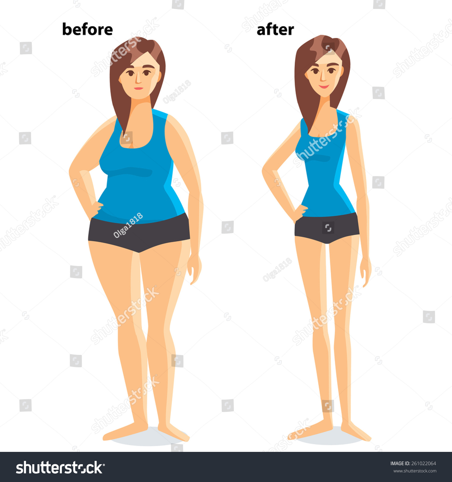 Body Shape Before After Weight Loss Stock Vector Royalty Free 261022064