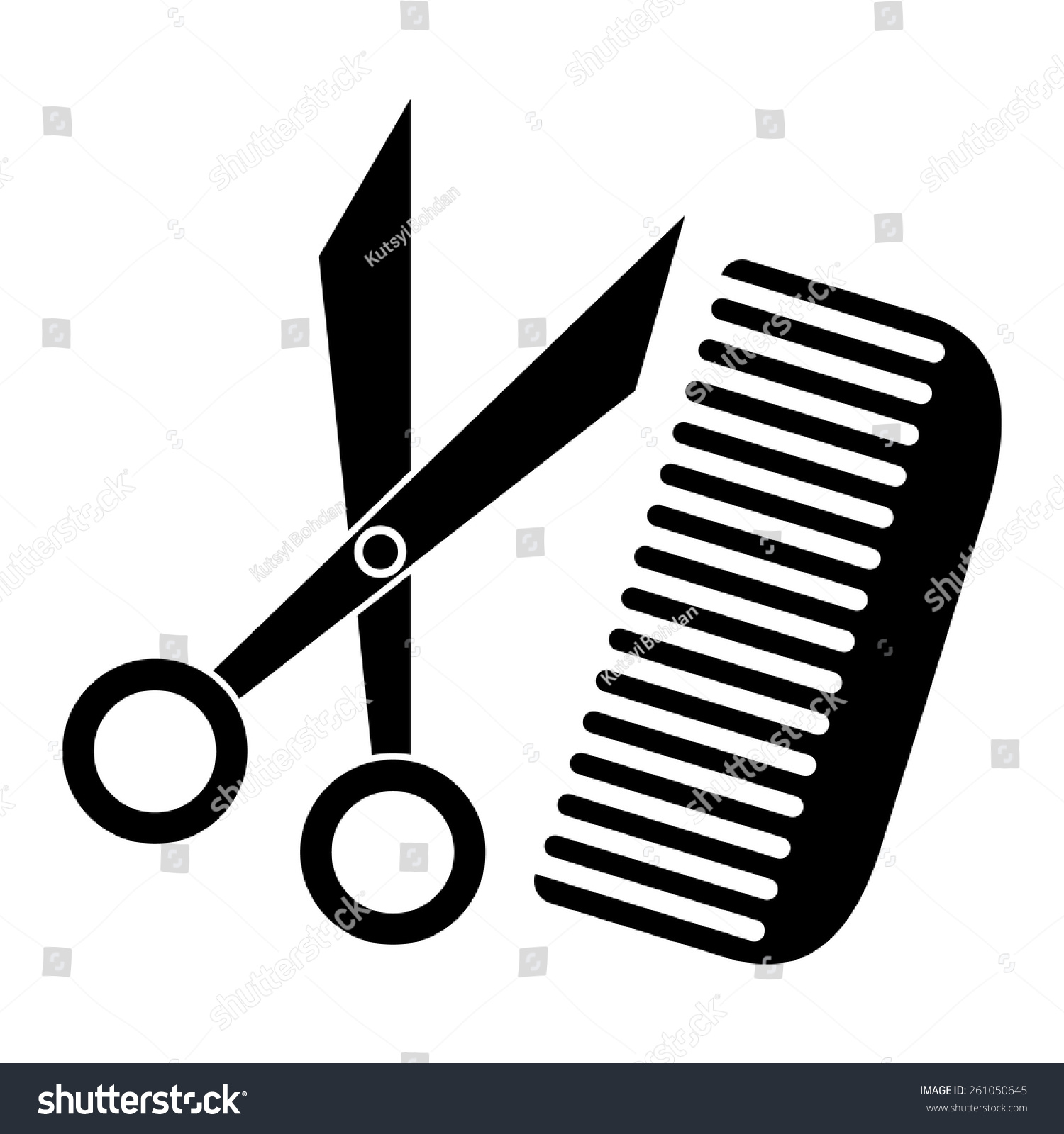 Vector Scissors And Comb - 261050645 : Shutterstock Comb Sketch