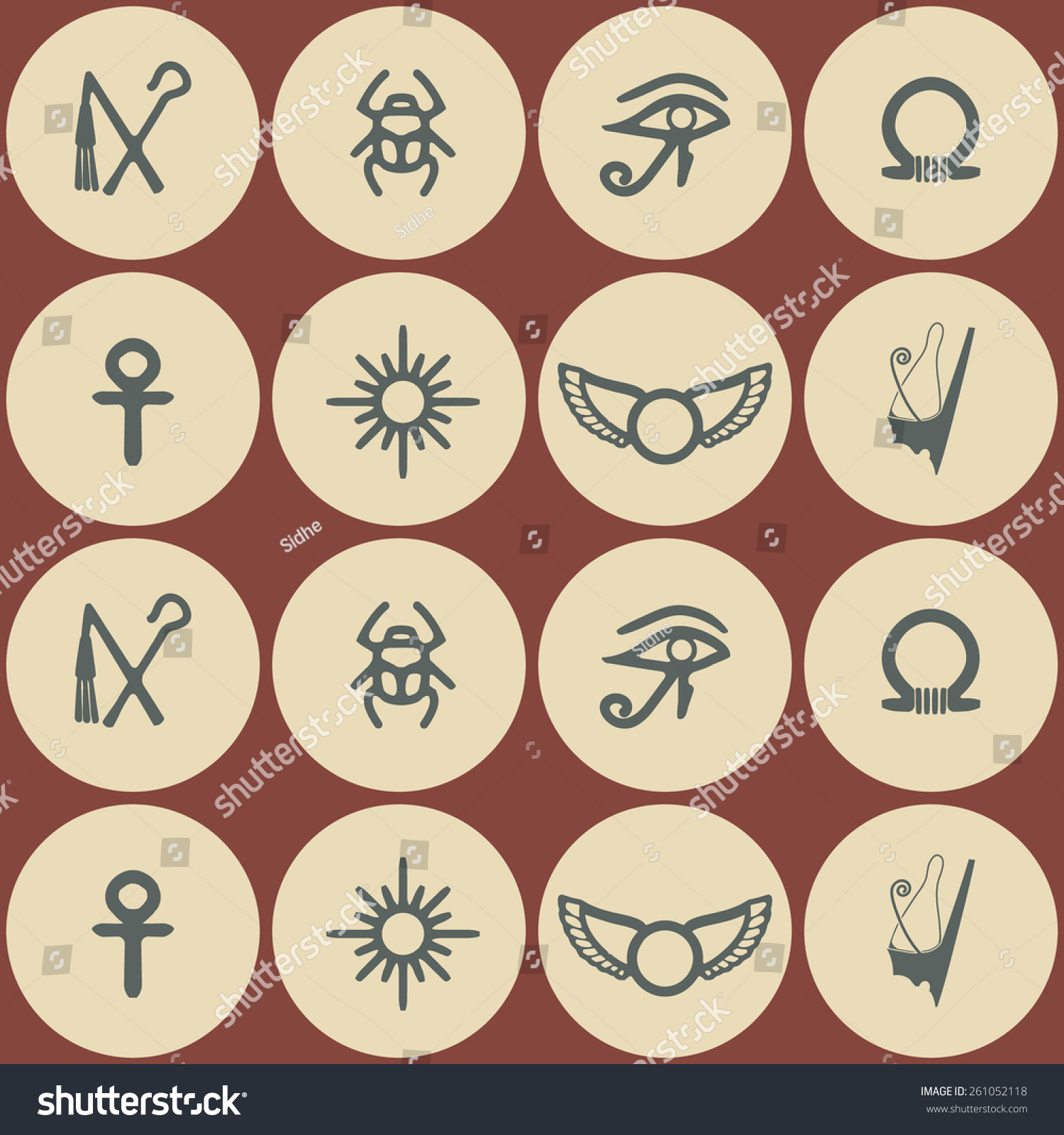 Seamless Background Egyptian Symbols Your Design Stock Vector