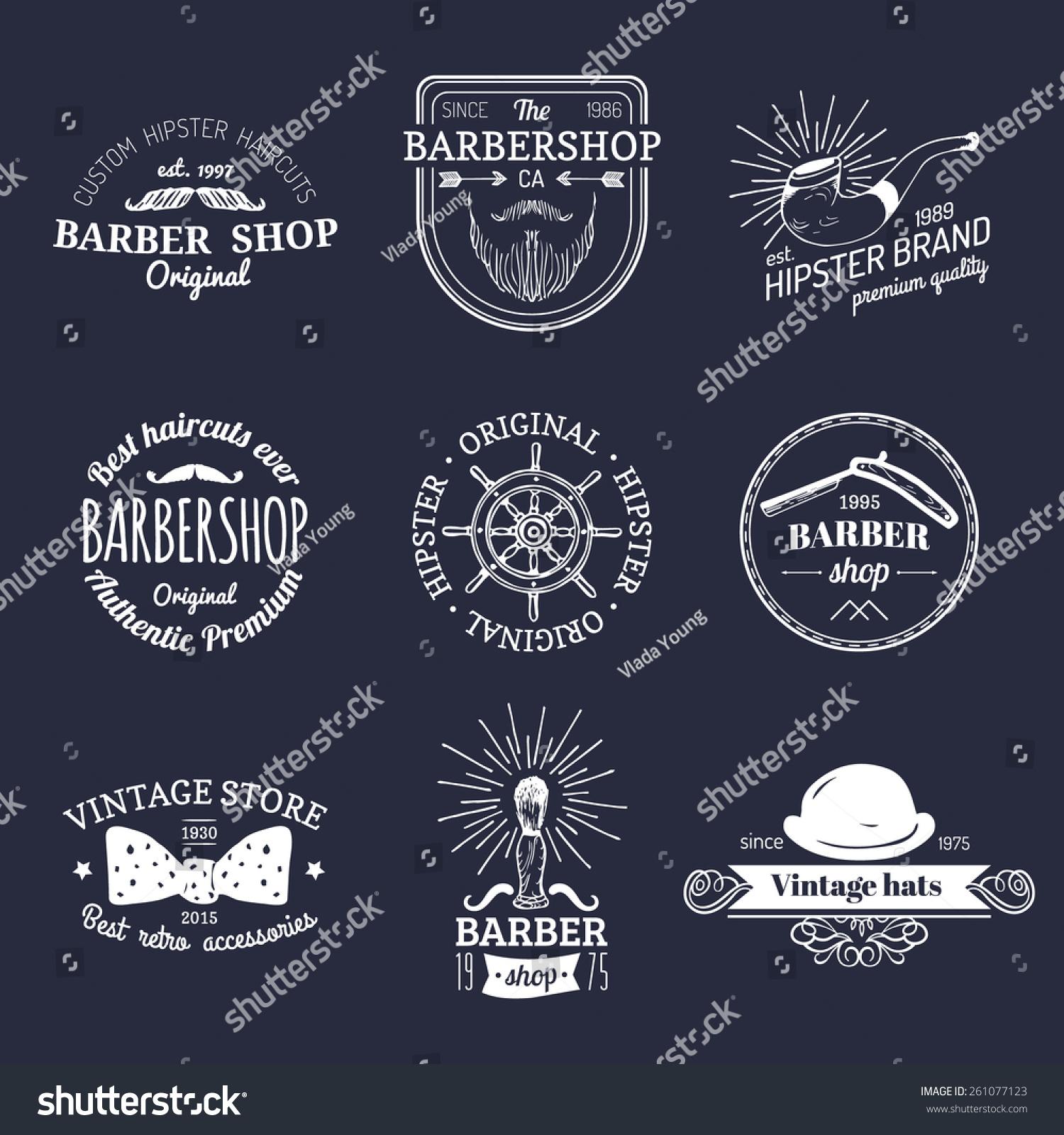 Clip art vector of vintage barber shop logo graphics and icon vector - Vector Set Of Vintage Hipster Logos Retro Icons Collection Of Vintage Barber Shop Equipments