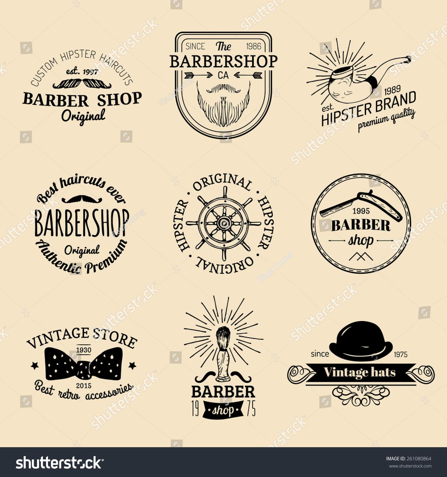 Clip art vector of vintage barber shop logo graphics and icon vector - Vector Set Of Vintage Hipster Logos Retro Icons Collection Of Vintage Barber Shop
