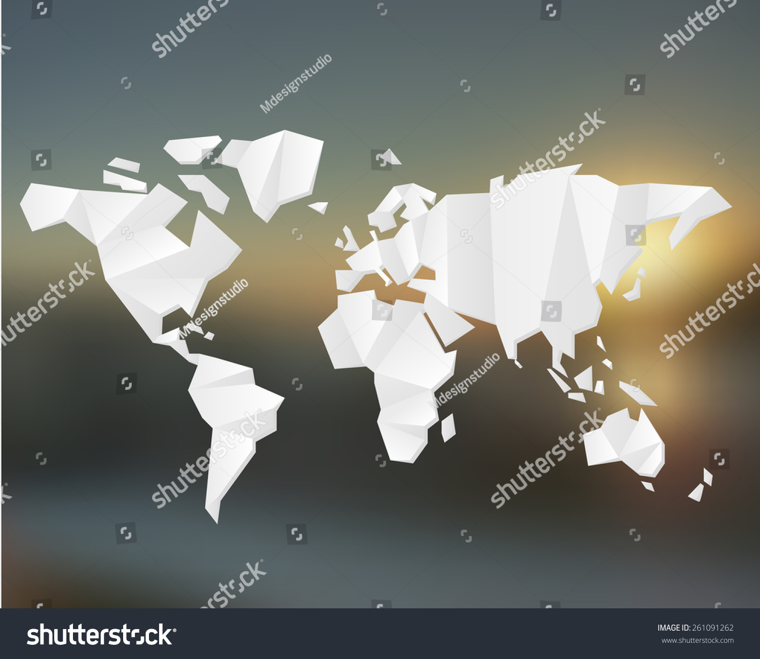 White origami world map world map vectores en stock 261091262 white origami world map world map concept gumiabroncs Choice Image