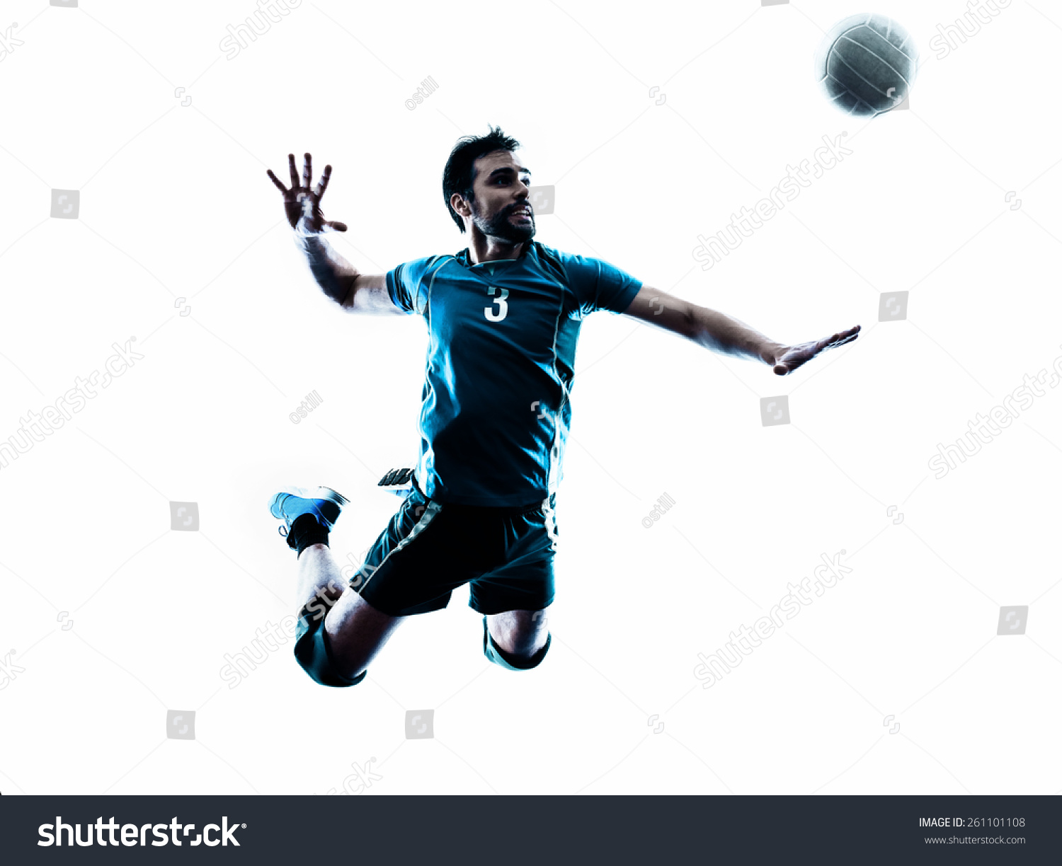 One Caucasian Man Volleyball Jumping In Studio Silhouette