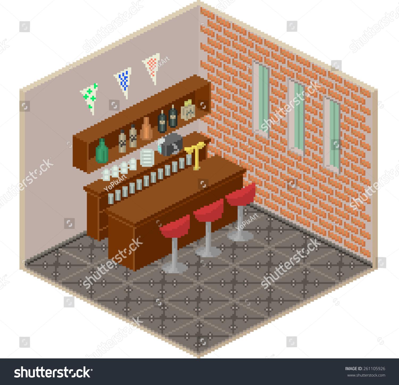 pixel style isometric bar interior pixel stock illustration