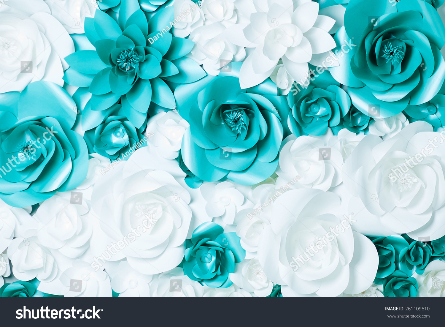 Background Turquoise White Flowers Stock Photo Edit Now 261109610
