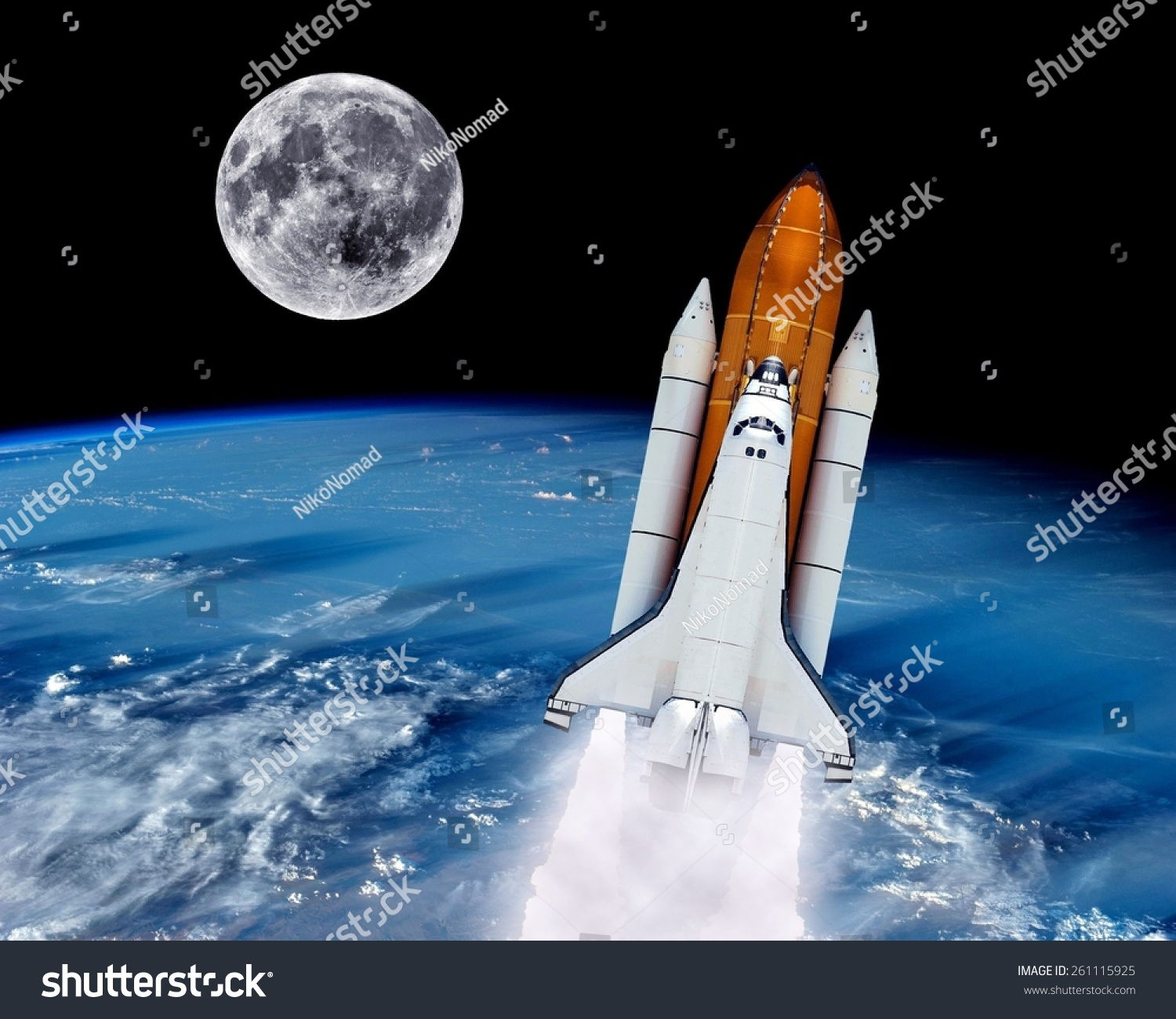 Space Shuttle Rocket Launch Earth Spaceship Moon. Elements ...