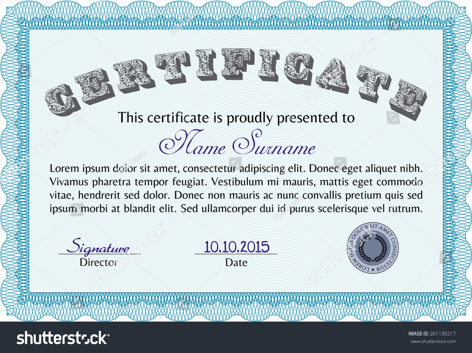 Pedigree Certificate Template