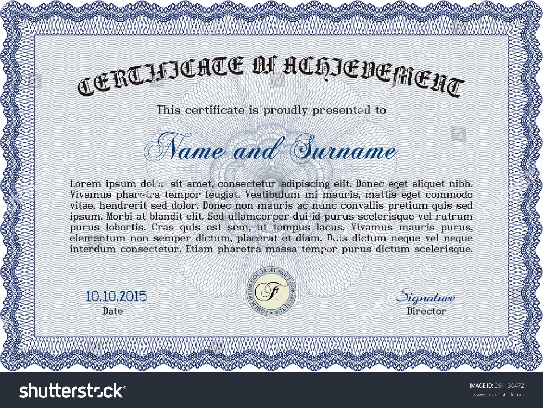 blue certificate diploma complex border design stock vector  blue certificate diploma complex border design stock vector 261130472 shutterstock