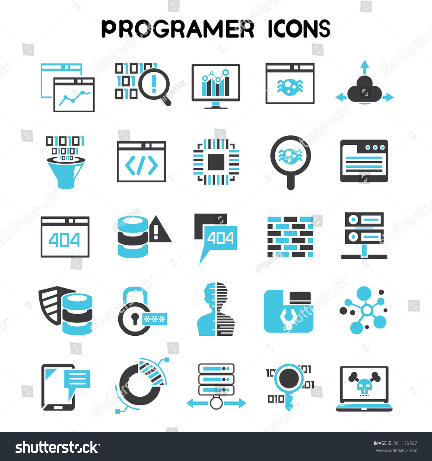 Programmer Icons Set Software Development Coding Stock ...