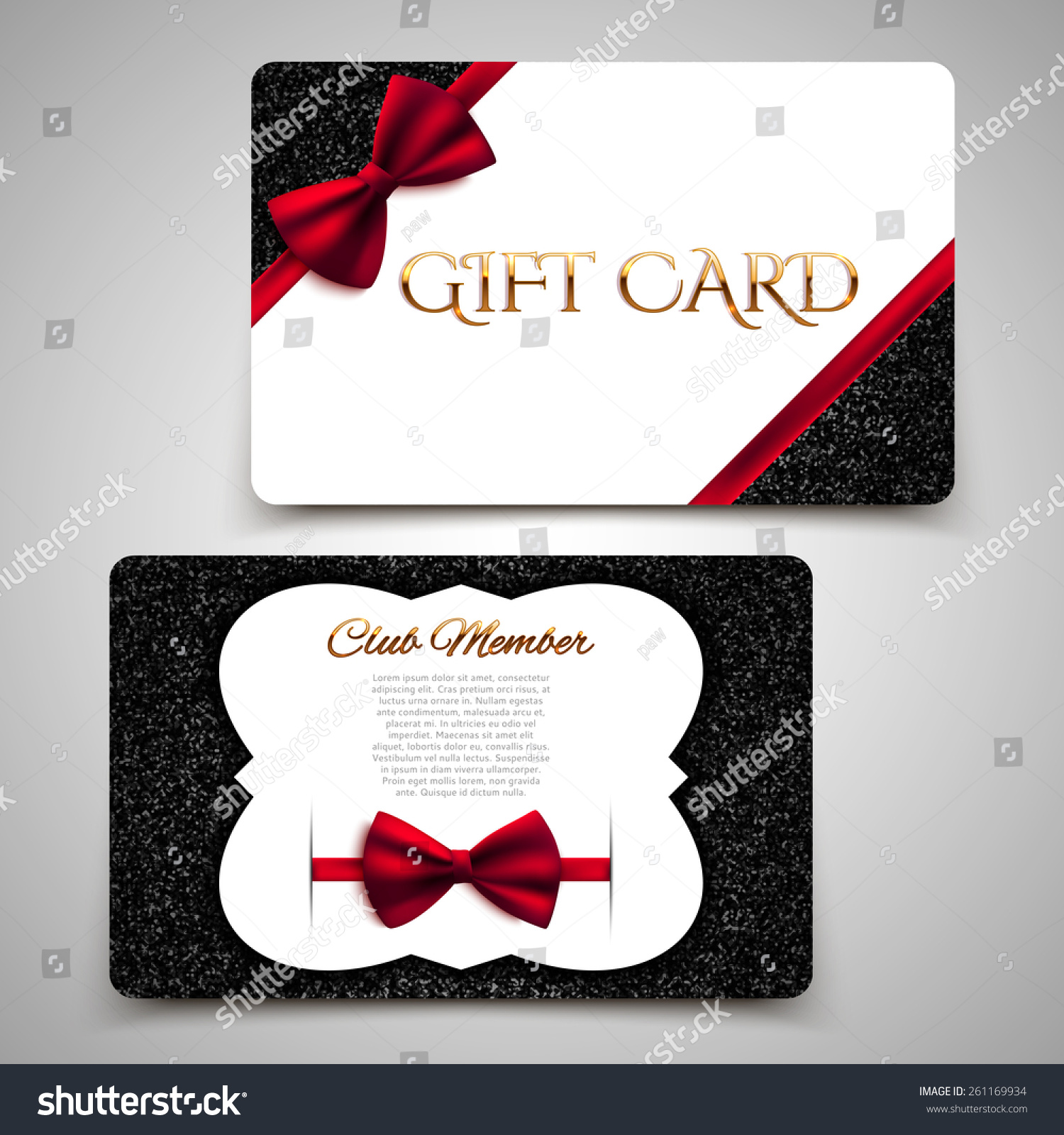 Gift Cards Vector Card Template Club Stock Vector Royalty Free