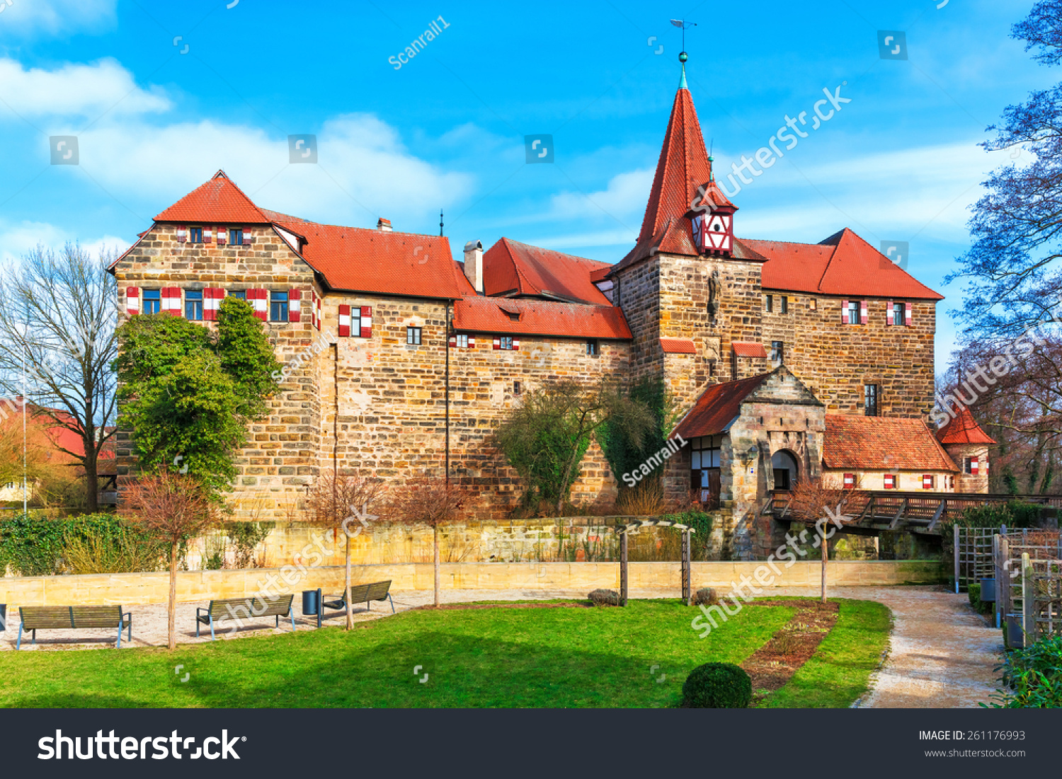 Scenic Spring View Of The Ancient Medieval Castle Architecture Building In Old Town Lauf