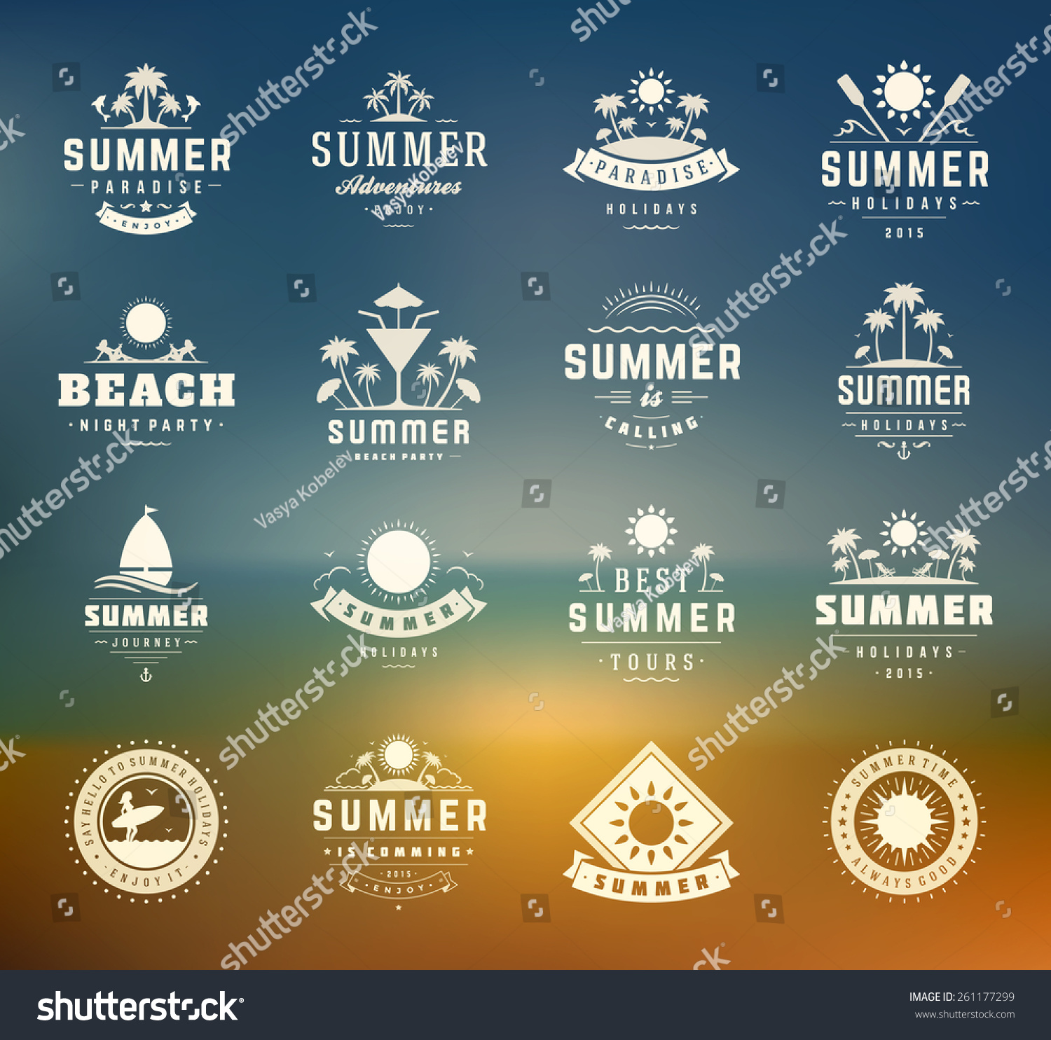 summer holidays design elements typography set stock vector summer holidays design elements and typography set retro and vintage templates labels badges
