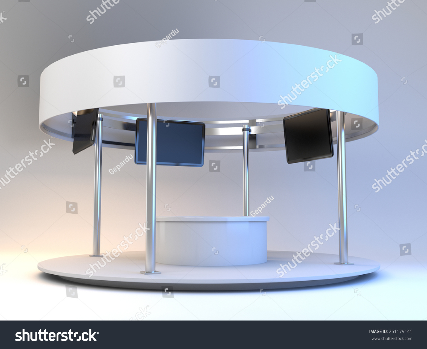 Exhibition Stall Vector : Blank stall with rondo in an exhibition tv displays