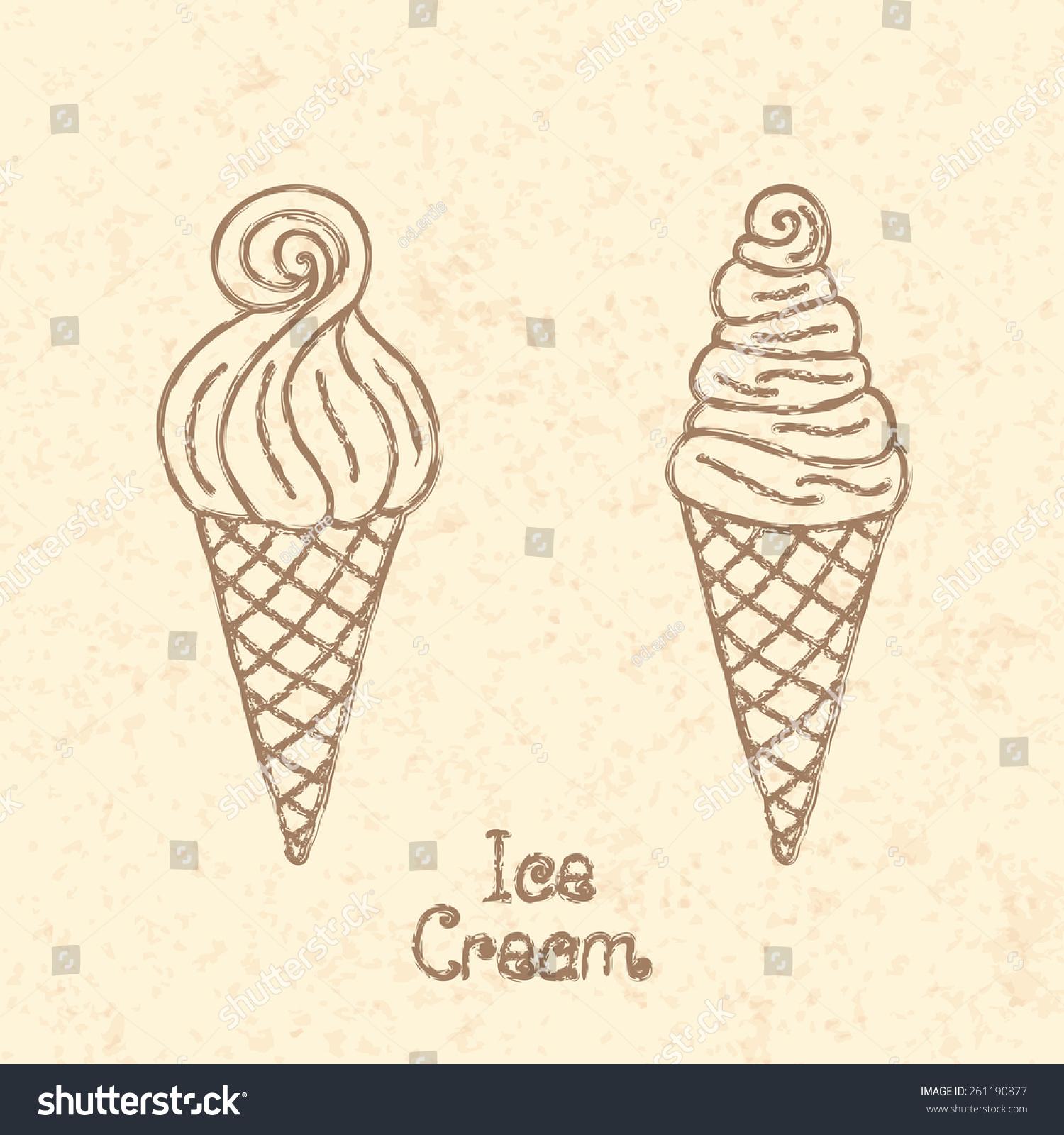 Ice Cream Cone Vintage Paper Vector Stock Vector Royalty Free