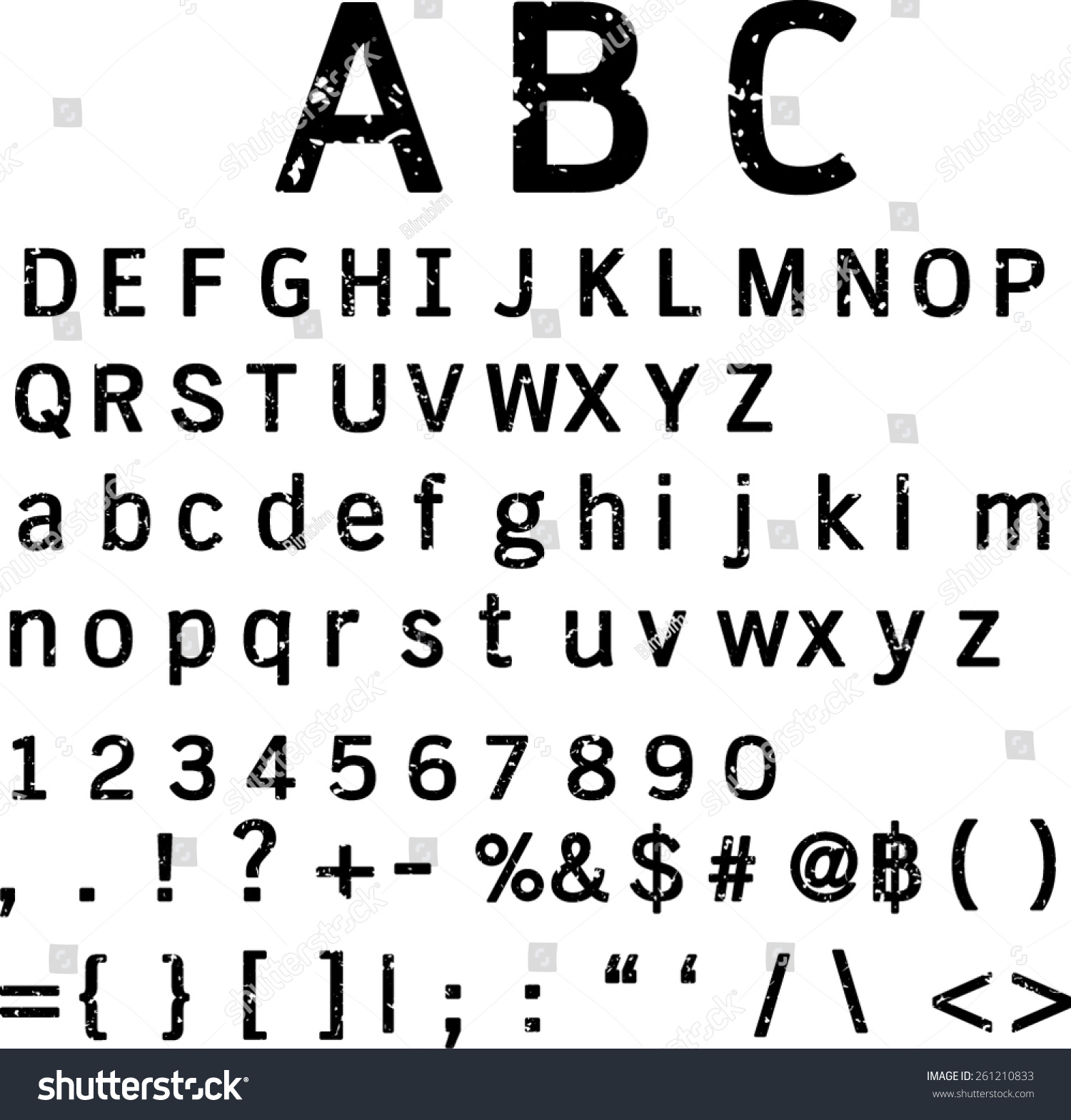 Retro Vintage Typography Scratchy Font Other Stock Vector Royalty