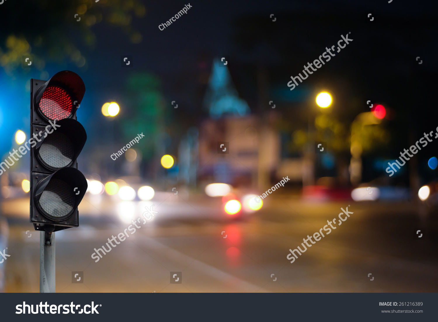 Red Traffic Light On Road Night Stock Photo 261216389 - Shutterstock for Traffic Light On Road At Night  117dqh