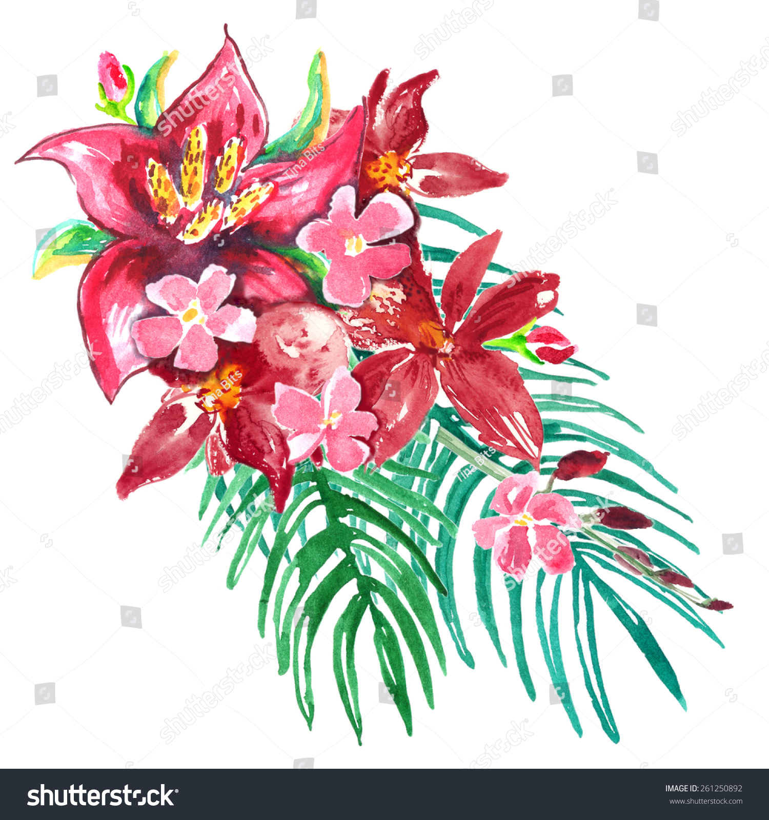Hot Pink Red Flowers Green Palm Stock Illustration 261250892