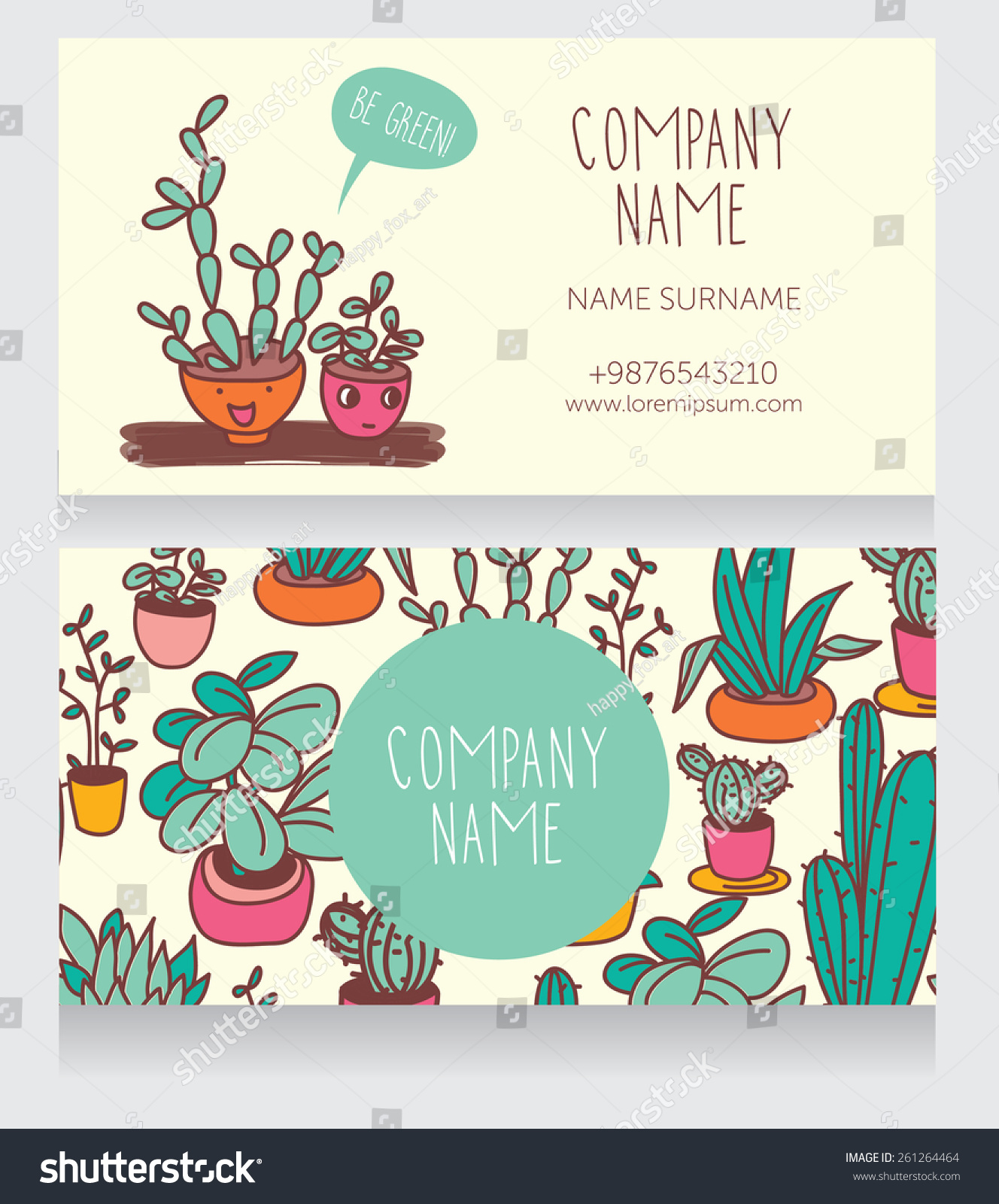 Business Card Design Smiling Potted Plants Stock Vector HD (Royalty ...