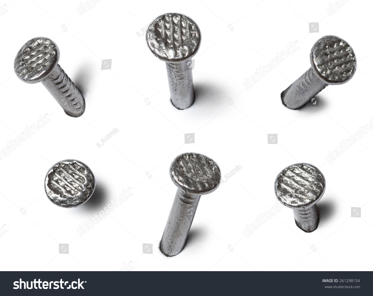 Set Metal Nail Head Isolated On Stock Photo (Royalty Free) 261298154 ...