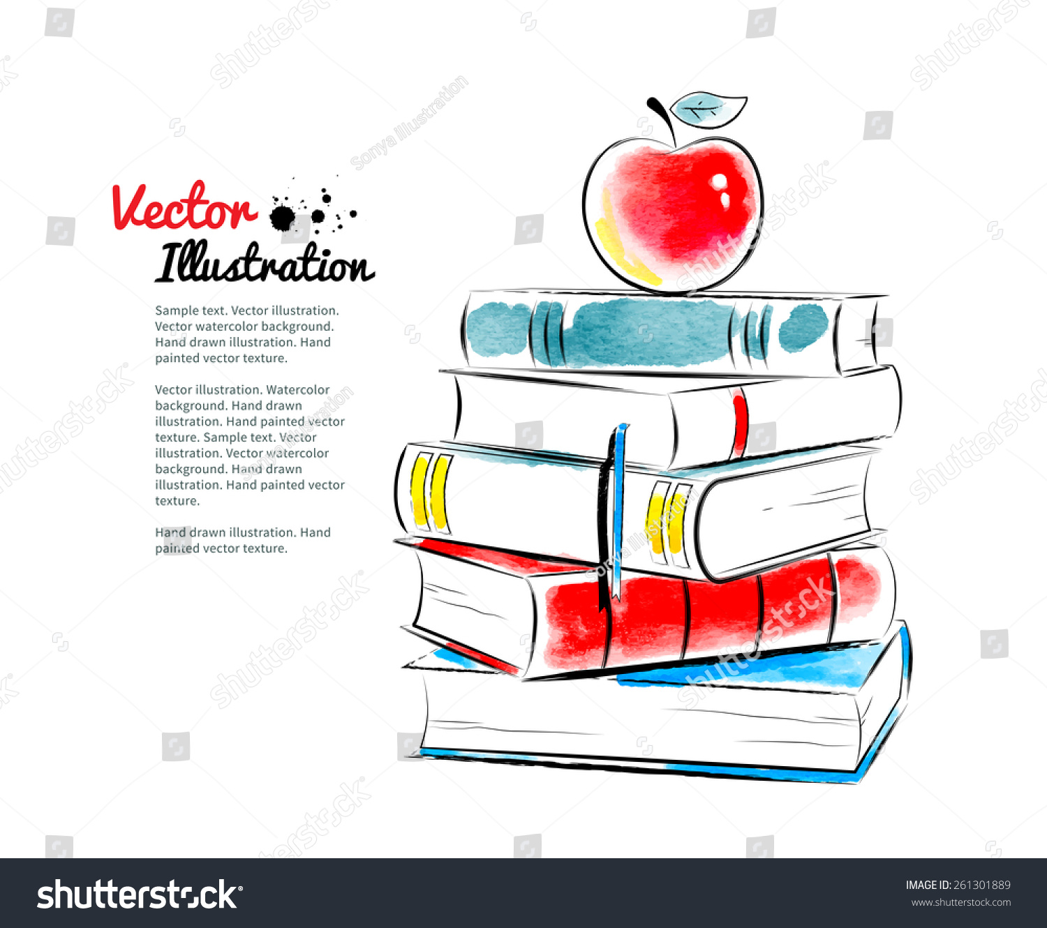 Red Apple Books Vector Watercolor Stock Vector