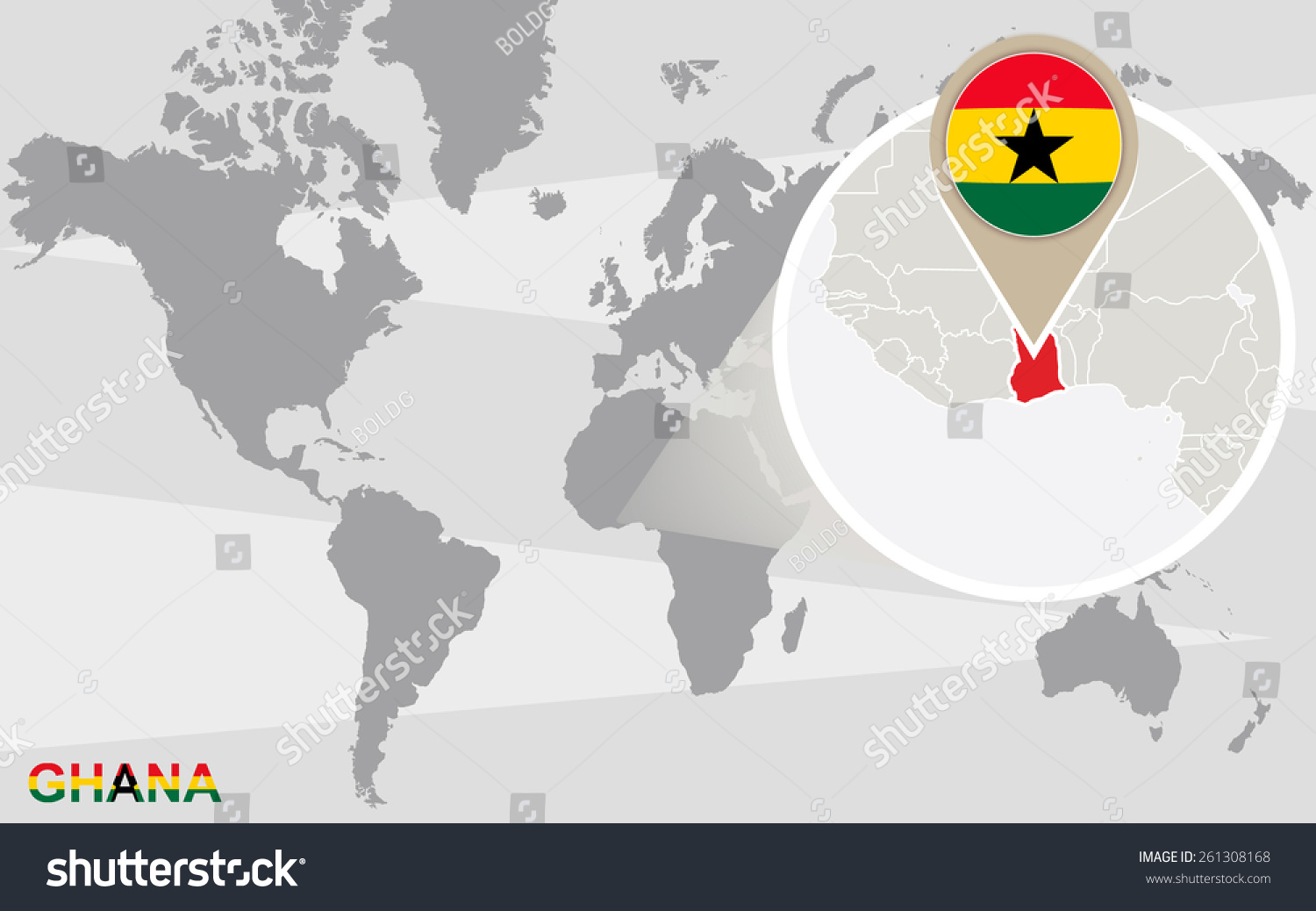 Ghana On A World Map.World Map Magnified Ghana Ghana Flag Stock Vector Royalty Free