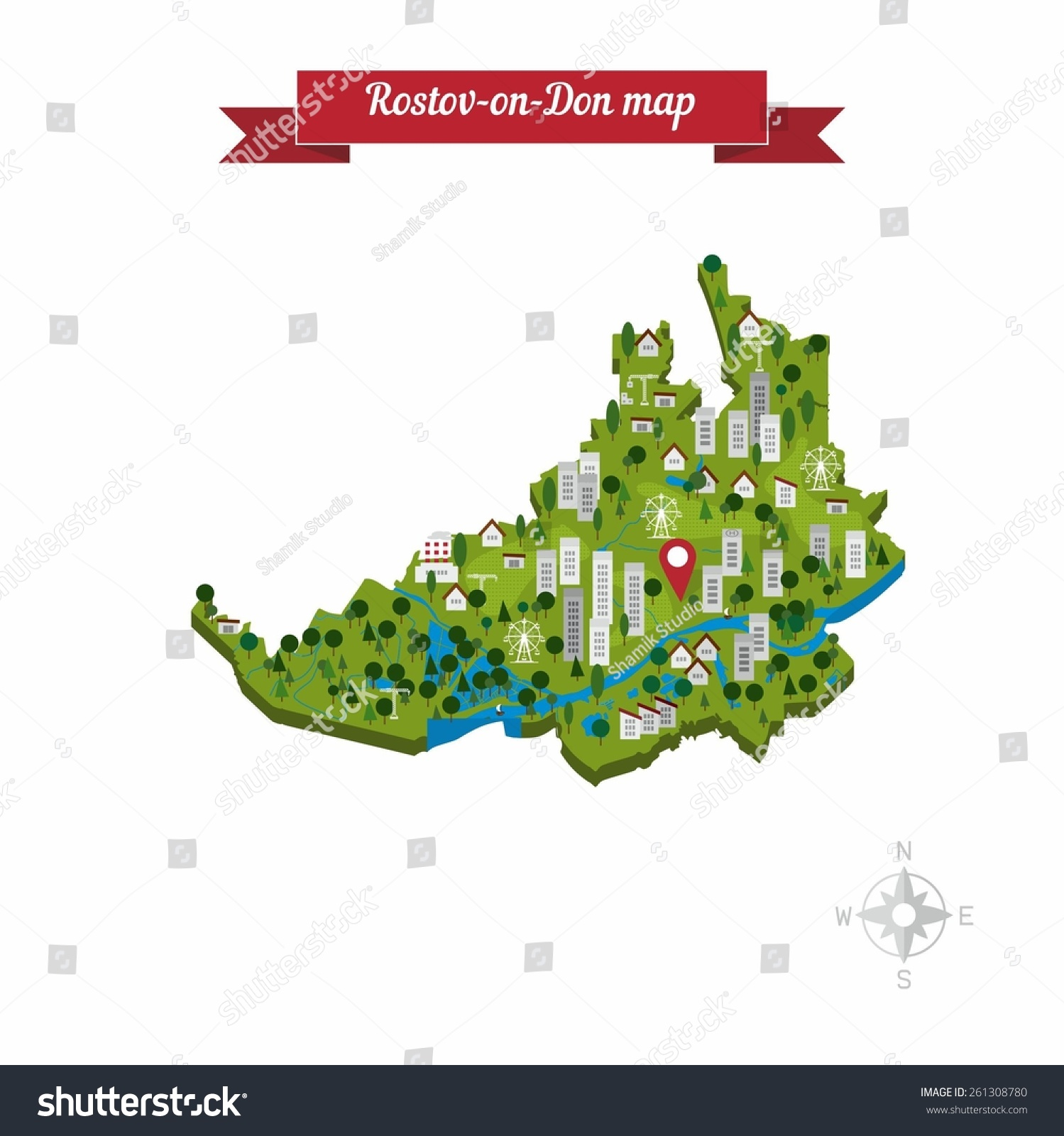 Rostovon Don Russia Cartoon Map Flat Style Stock Vector (Royalty ...