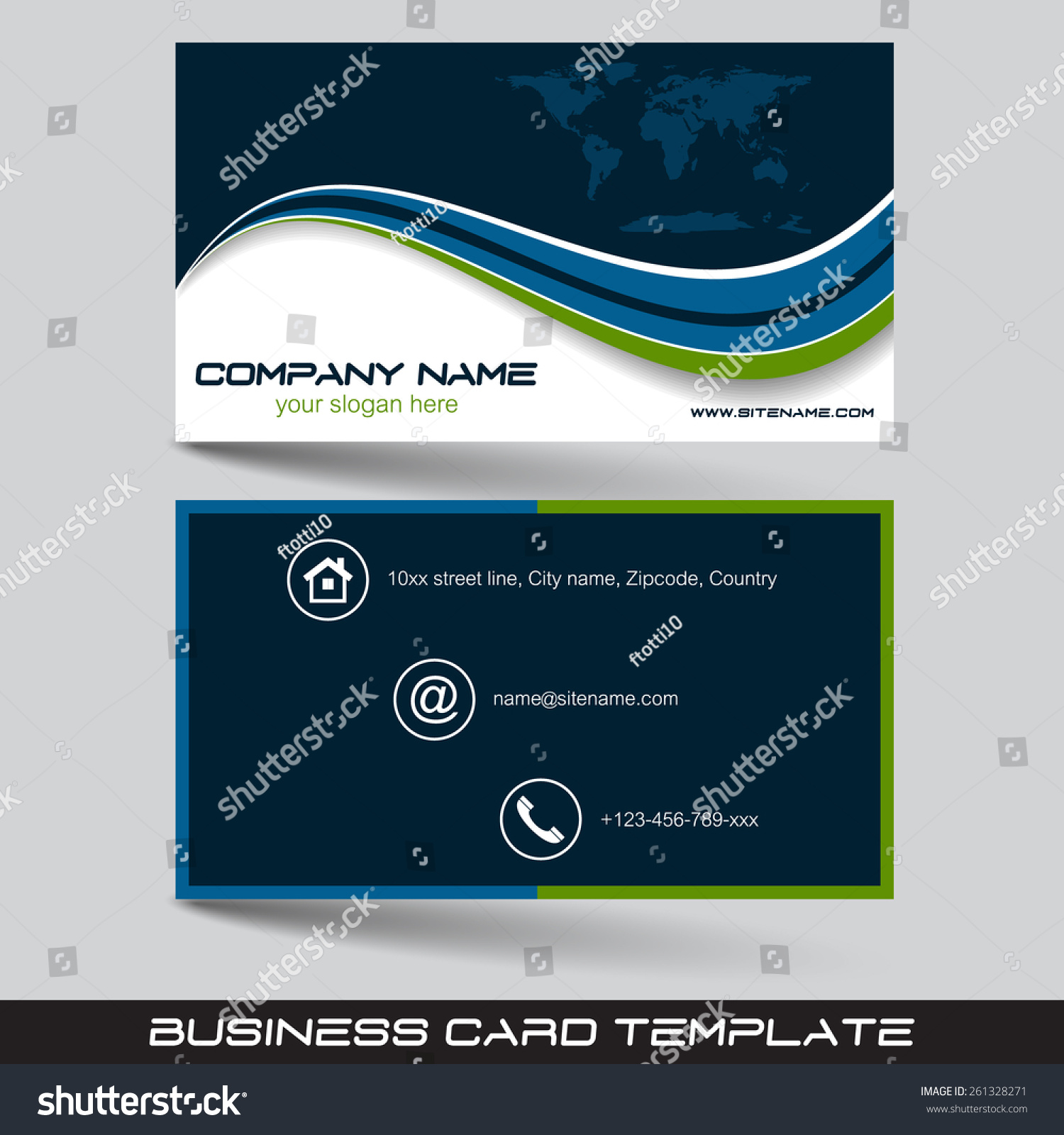 business card template visiting card set stock vector
