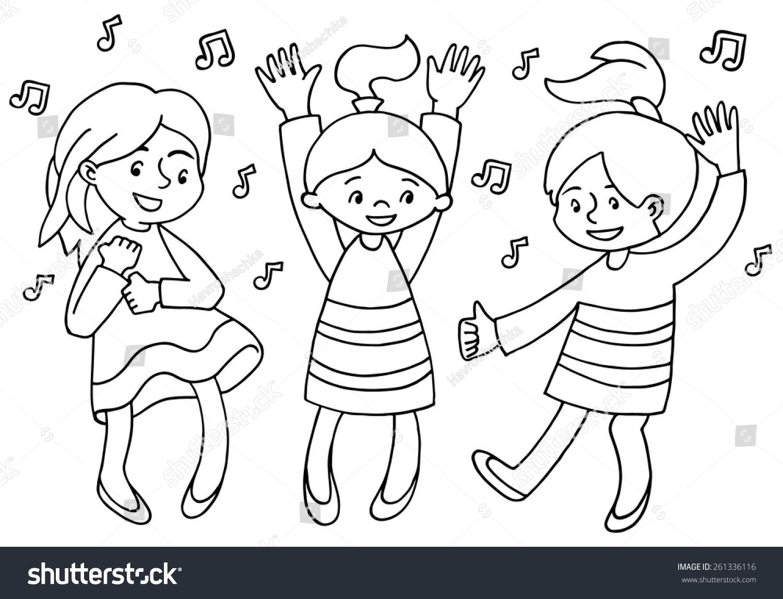 Happy Cartoon Kids Dancing Vector Illustration Stock ...