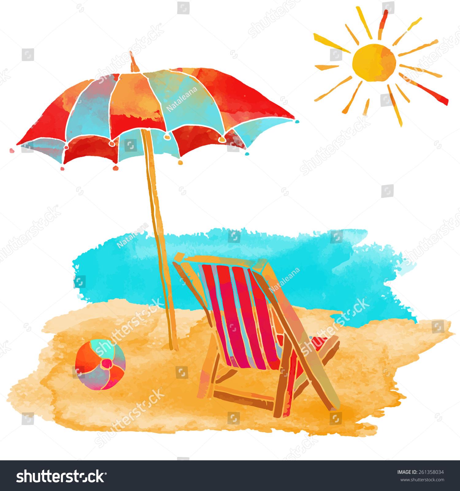 Watercolor Summer Beach Set. Sea, Sun, Sun Umbrella, Ball ...