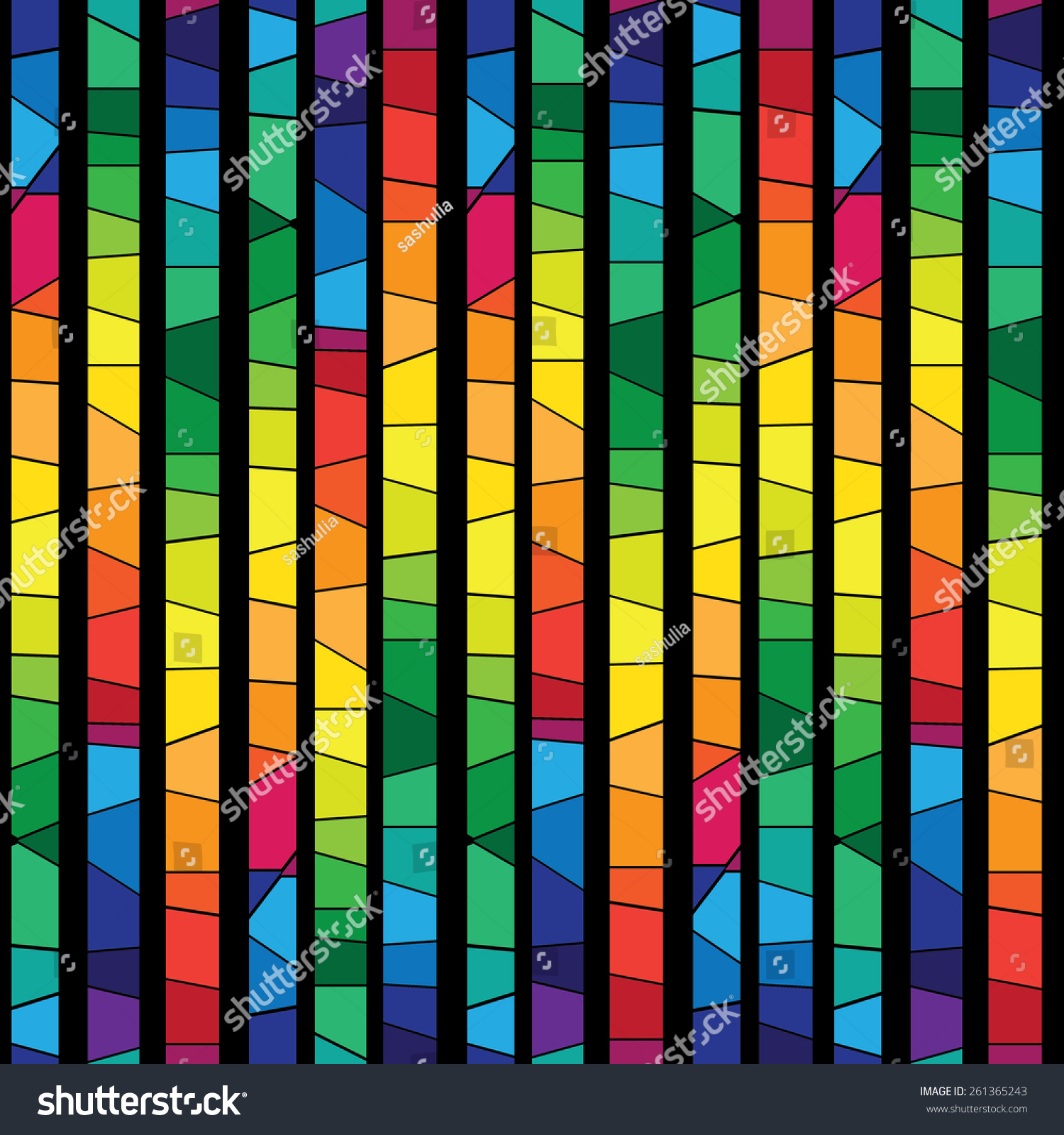 Colored Stained Glass Abstract Geometric Seamless Stock