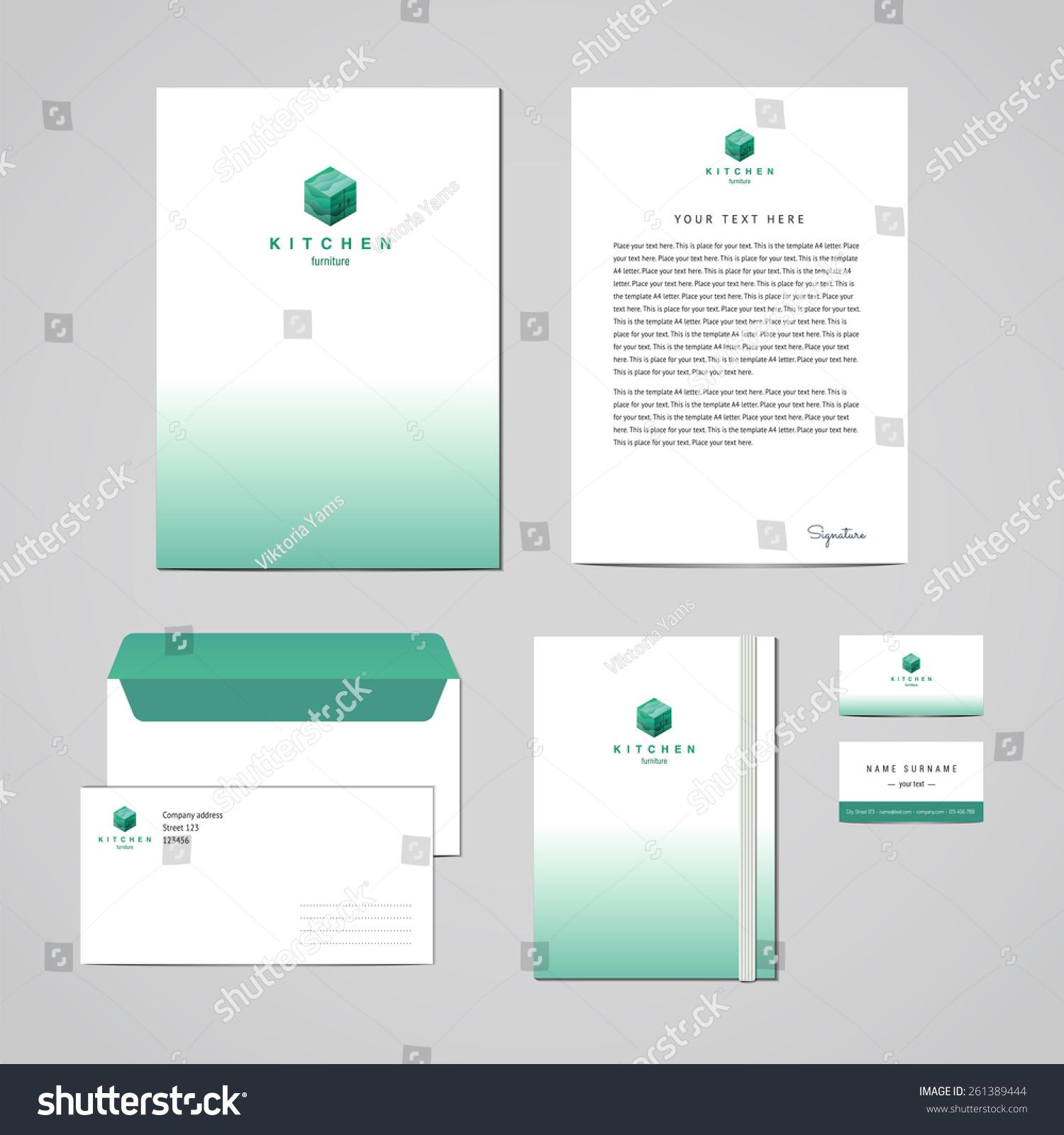 Corporate Identity Furniture Company Turquoise Design Stock Photo ...