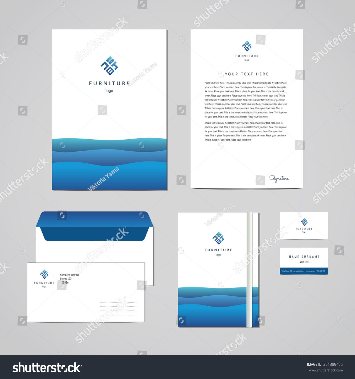 Corporate Identity Furniture Company Blue Design Stock Vector ...