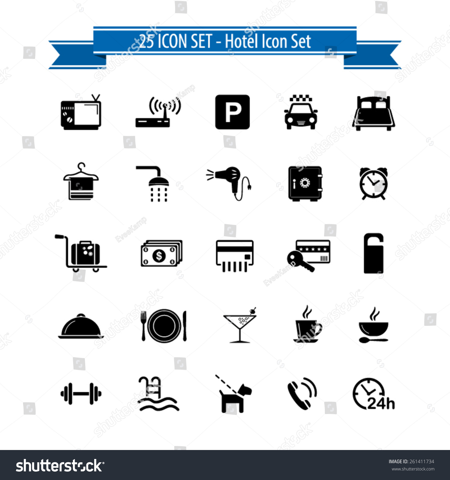 Cafe Kitchen Design Hotel Icon Set 25 Hotel Amenities Stock Vector 261411734