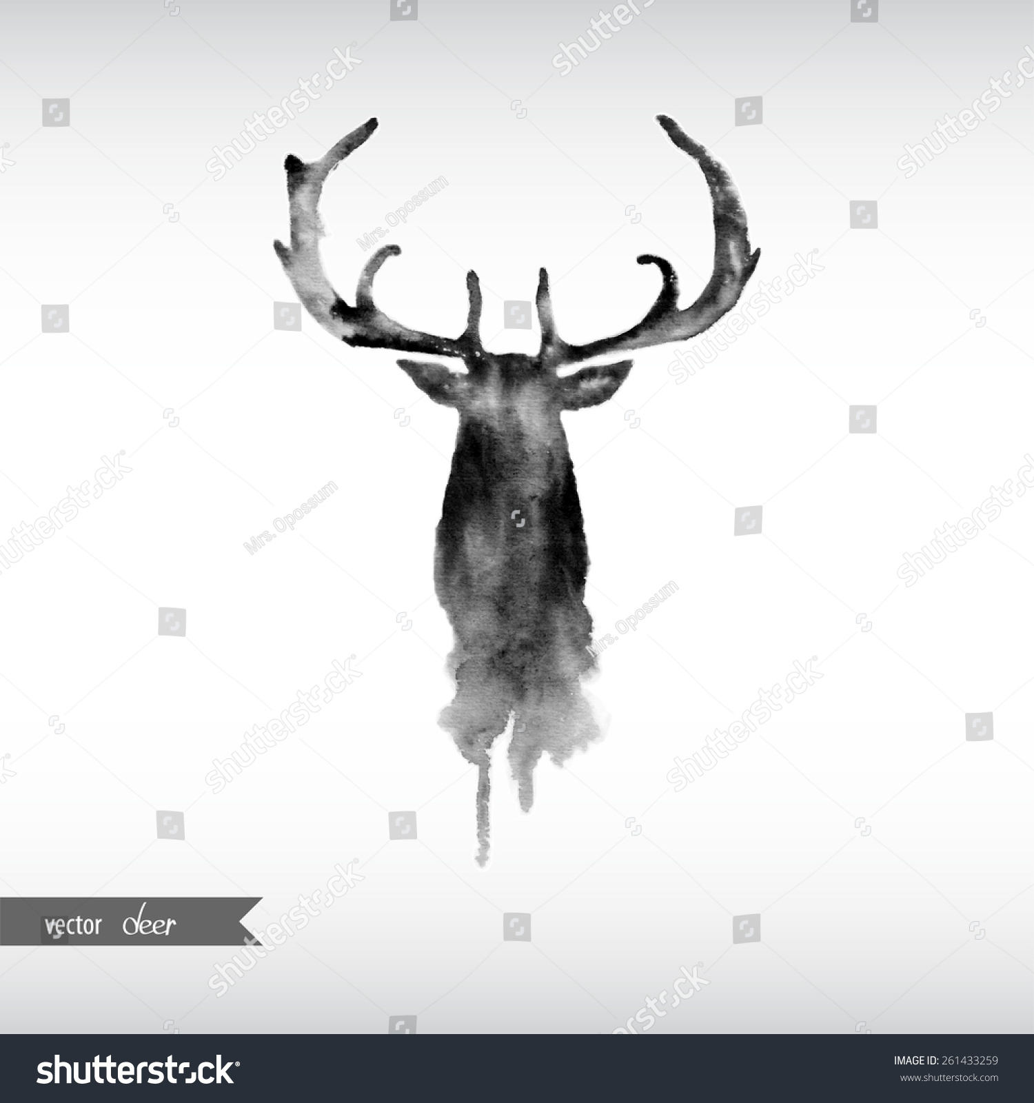 Deer illustration black and white - photo#8