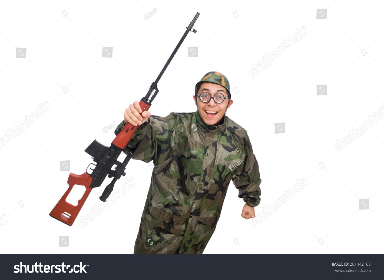 Military Man Gun Isolated On White Stock Photo 261442163 ...