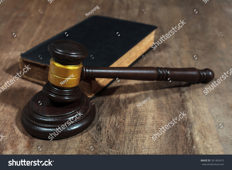 Judge Gavel On Wooden Background Stock Photo 261463415 ...