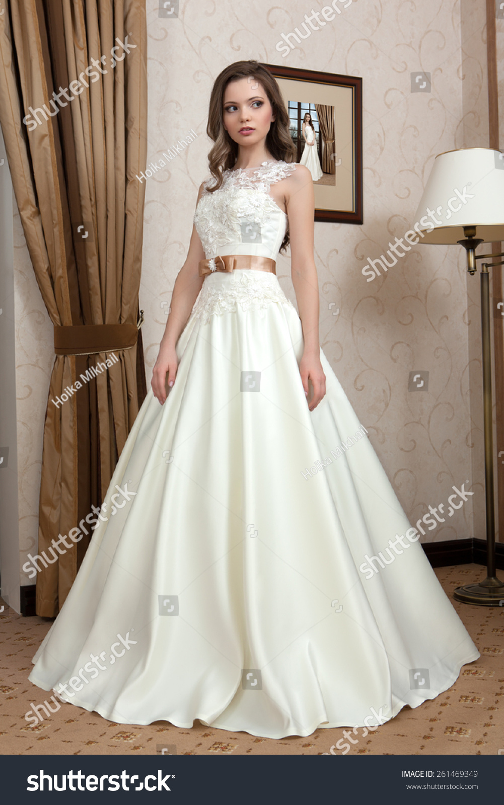 Wedding Dress Young Bride Tries On Stock Photo (Royalty Free ...