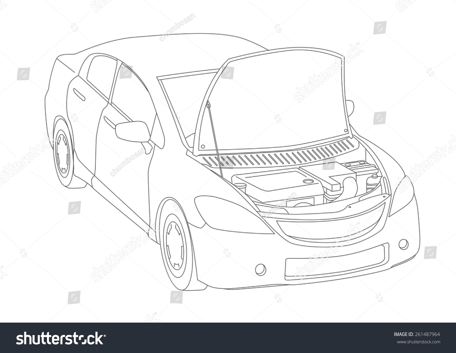Line Drawing Car : Generic vehicle line drawing illustration stock vector 261487964