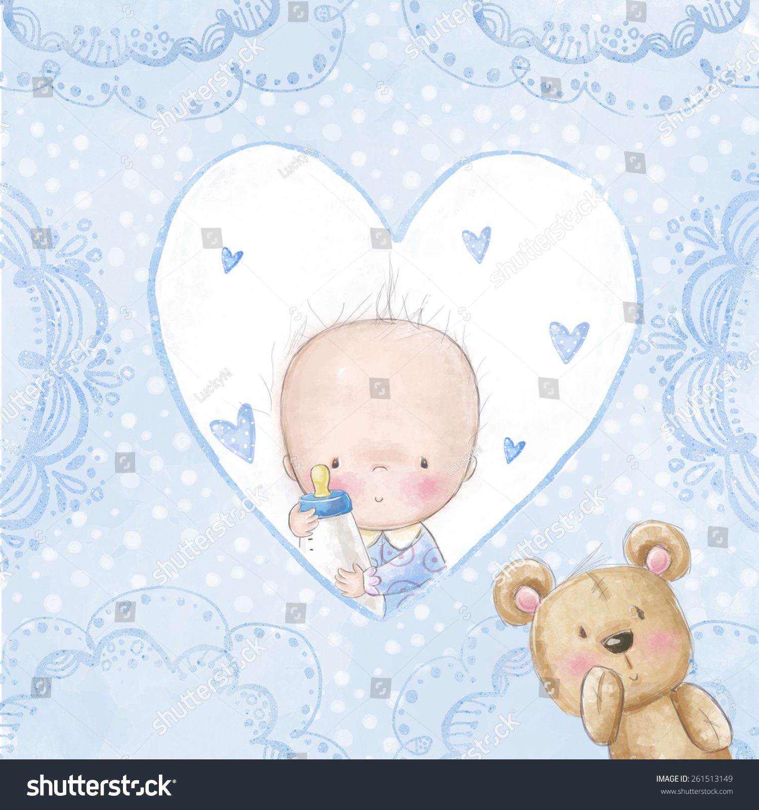 Baby shower greeting card.Baby boy with teddy Love background for children.Baptism invitation Newborn card design Newborn photo-album cover design Its a girl card