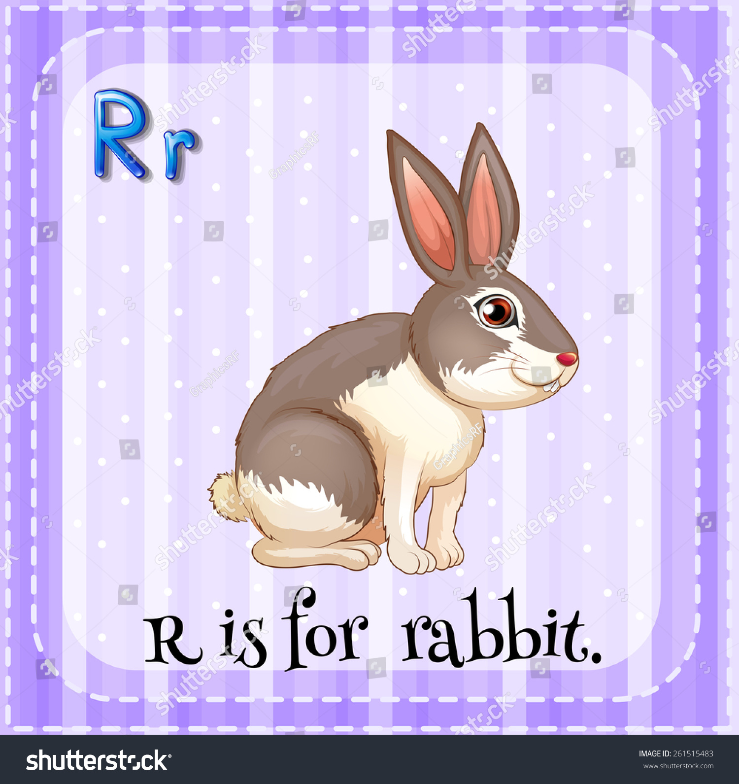 R Is For Rabbit Flash Card Letter R Is...
