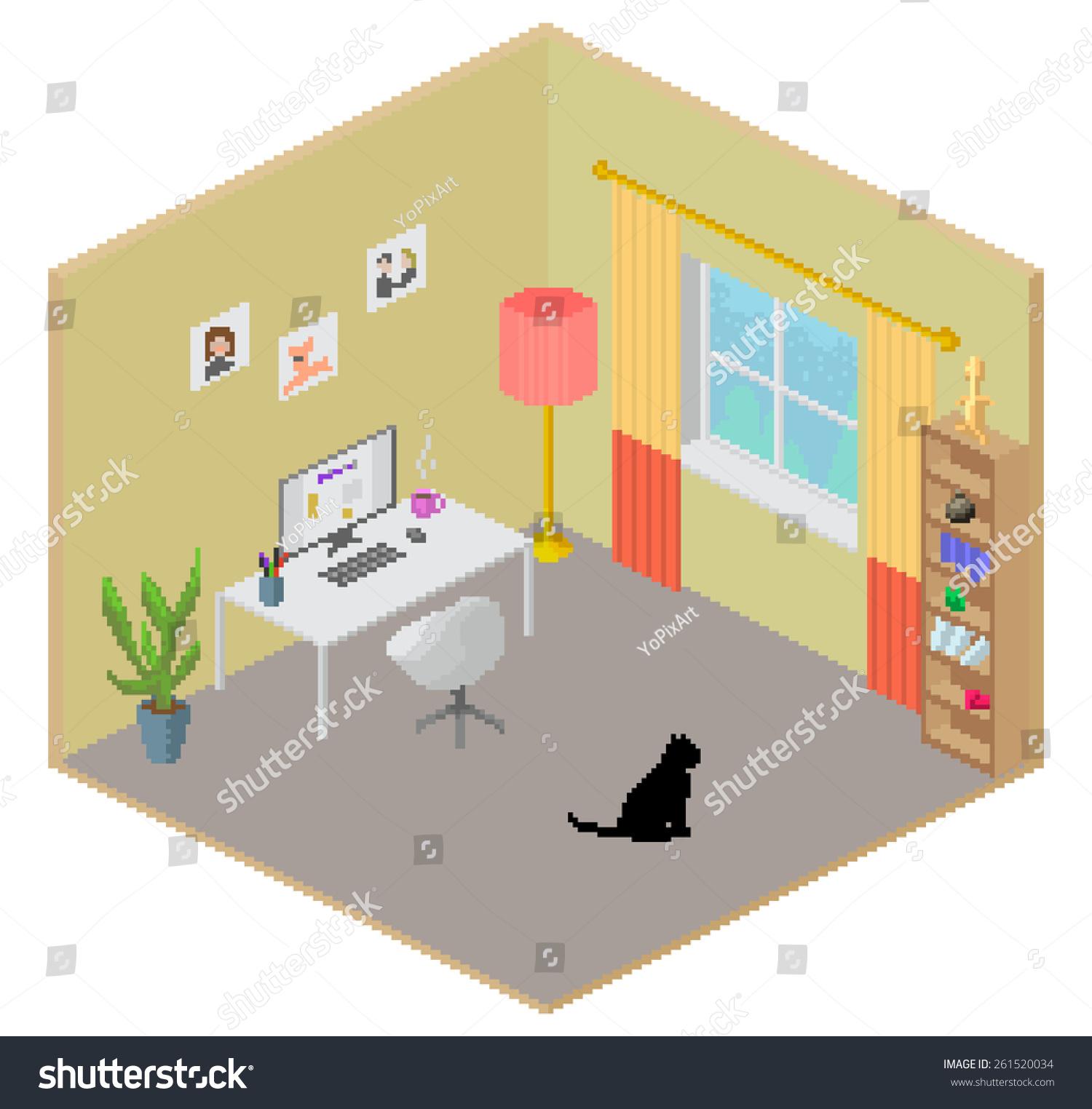 isometric pixel art vector room interior stock vector royalty free