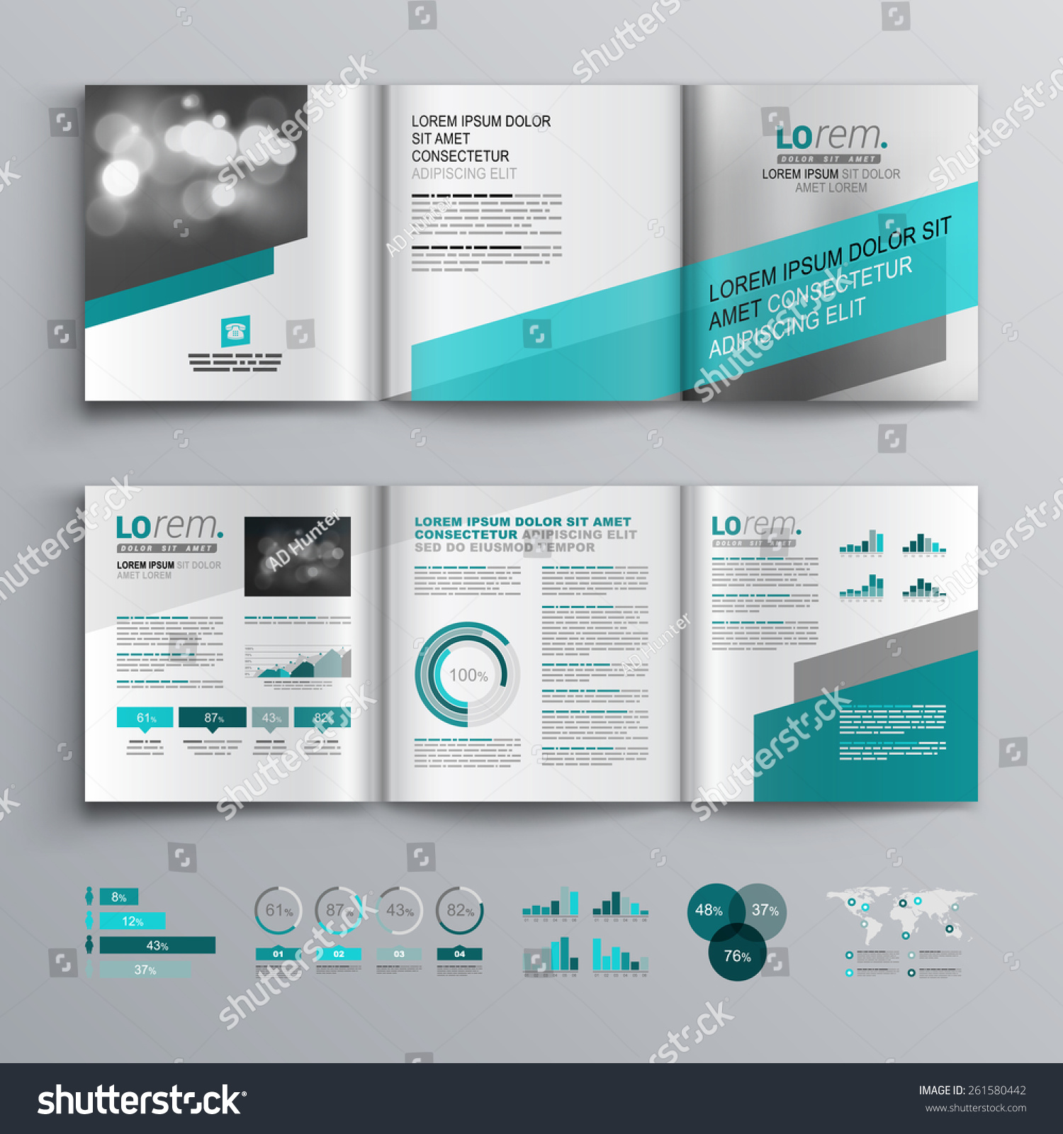 Gray Brochure Template Design Green Diagonal Stock Vector ...