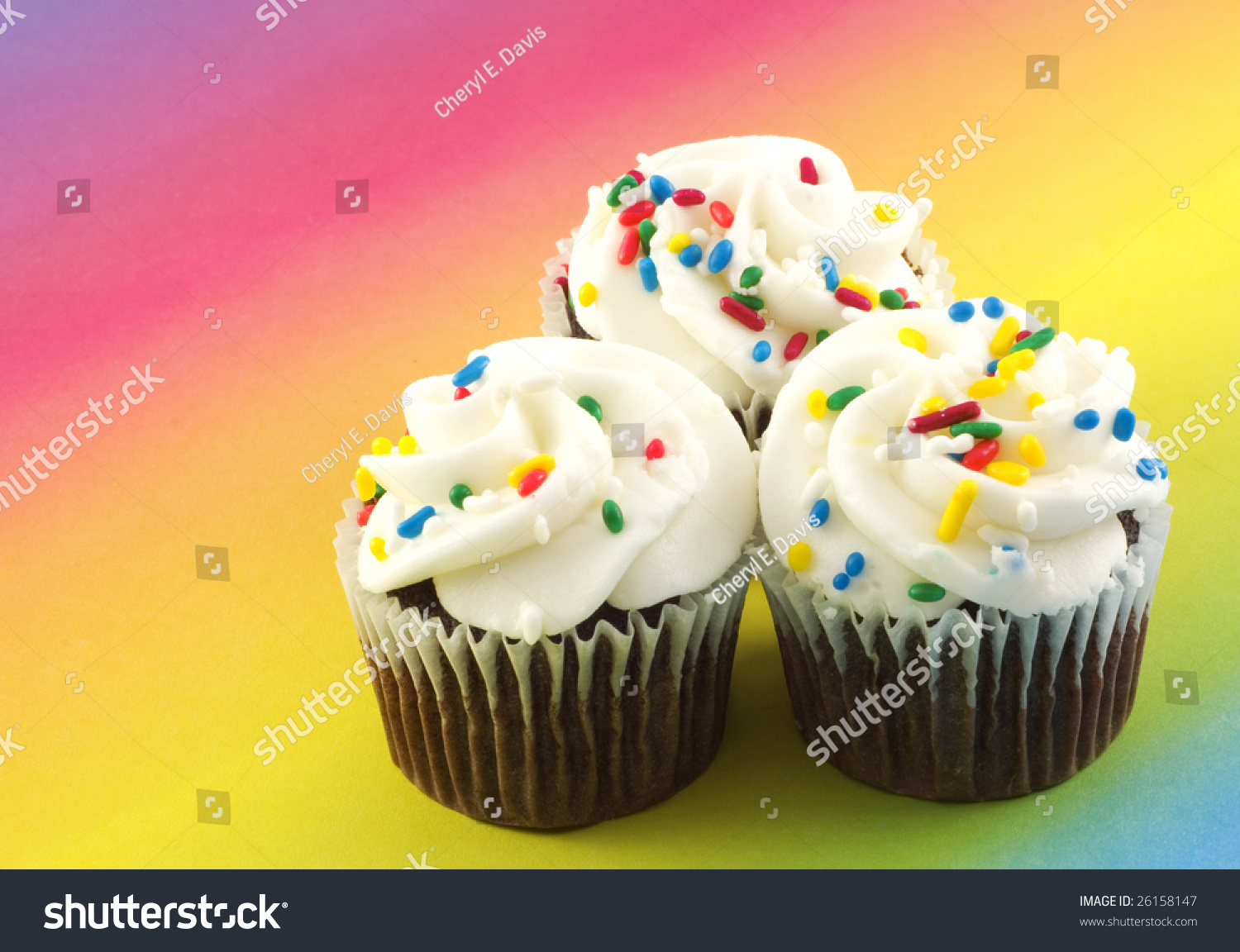 Three Delicious Chocolate Cupcakes Vanilla Frosting Stock Photo