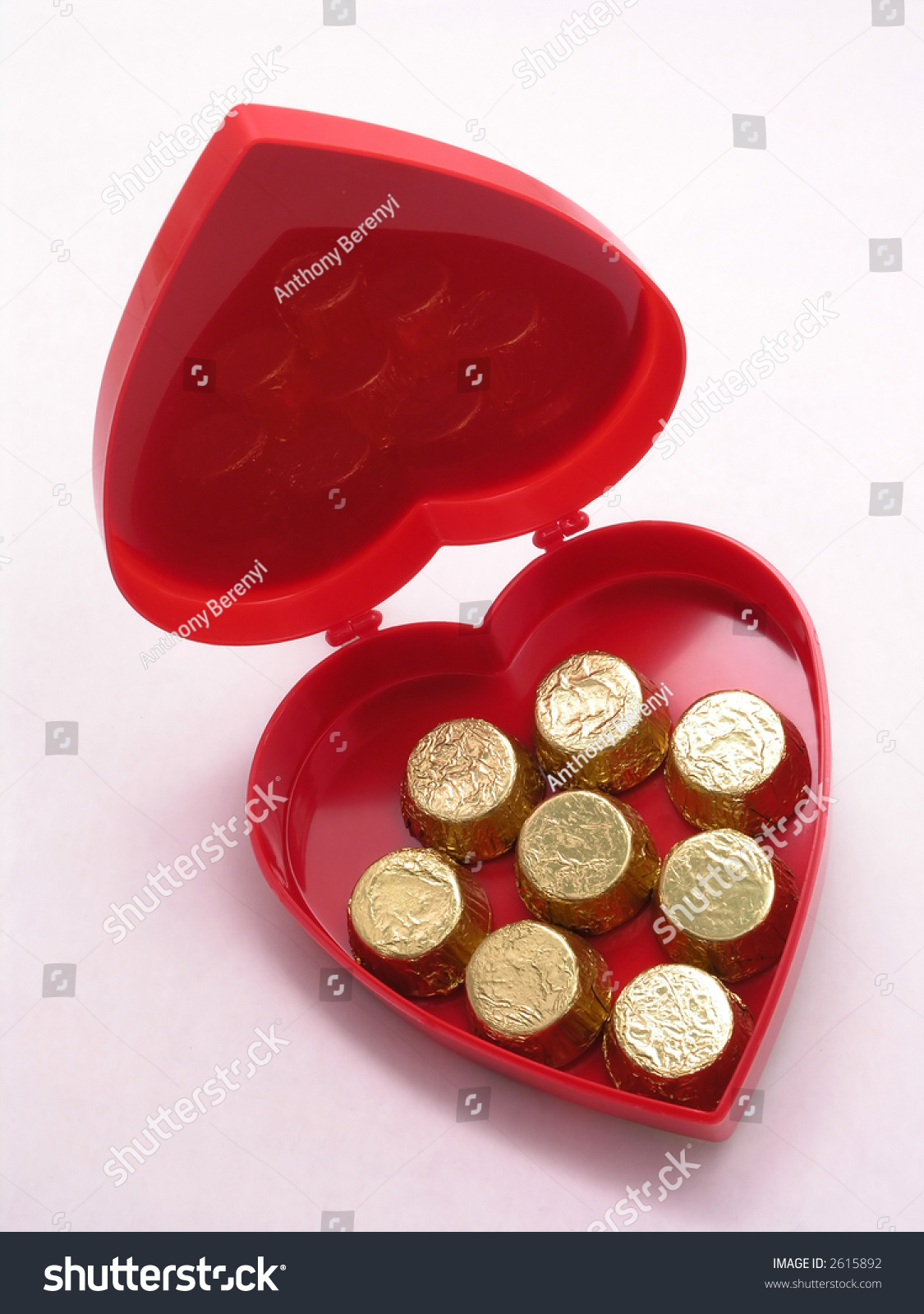 Valentines Box Chocolate Hearts Open Stock Photo Edit Now 2615892