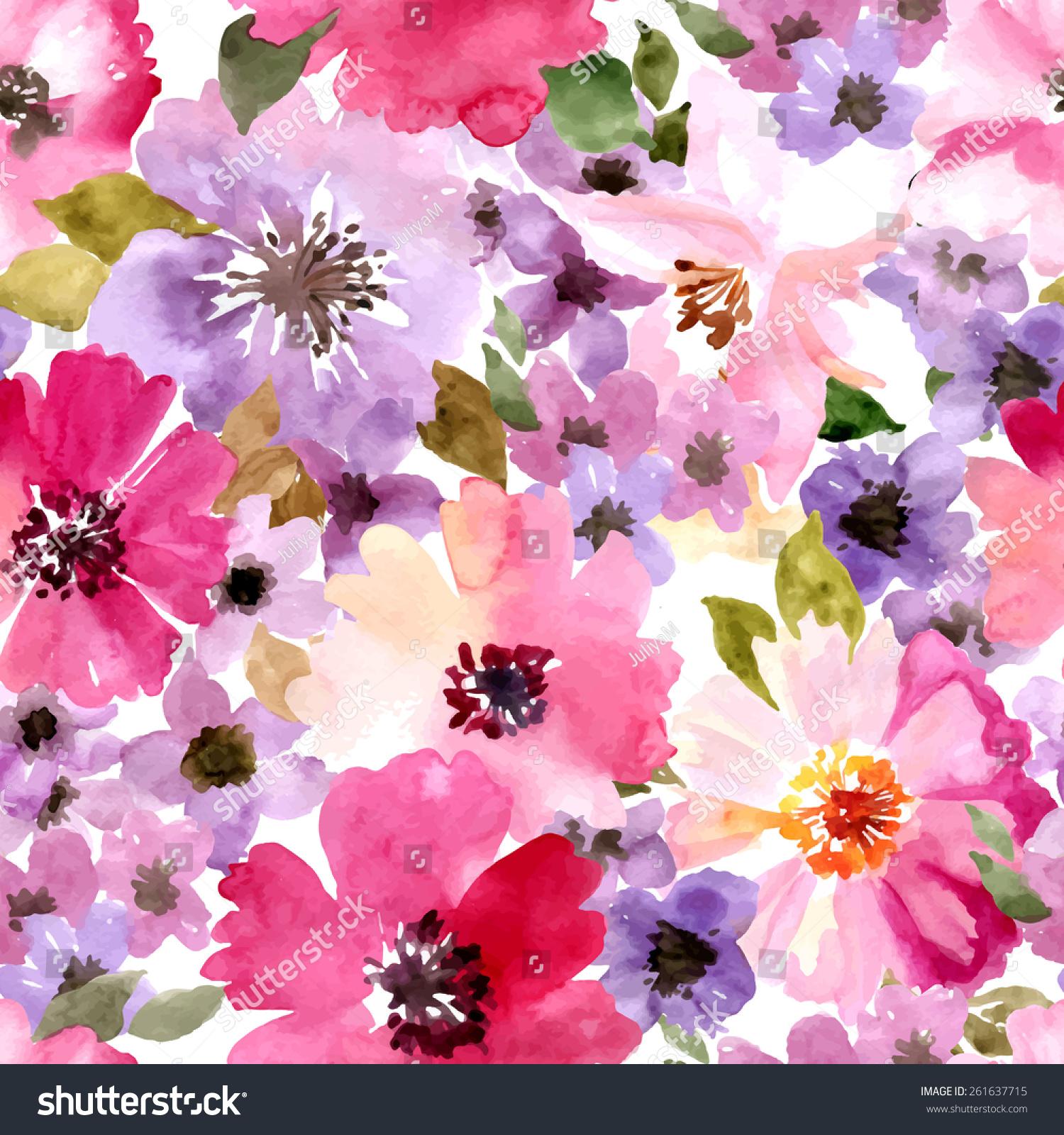 Seamless Wallpaper Summer Flowers Watercolor Painting
