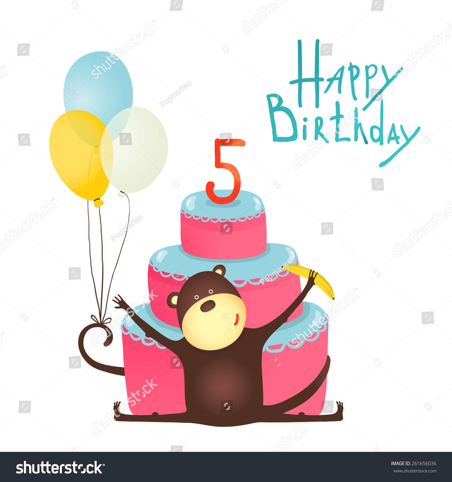 Funny Monkey Greetings Balloons Cake Monkey Stock Illustration